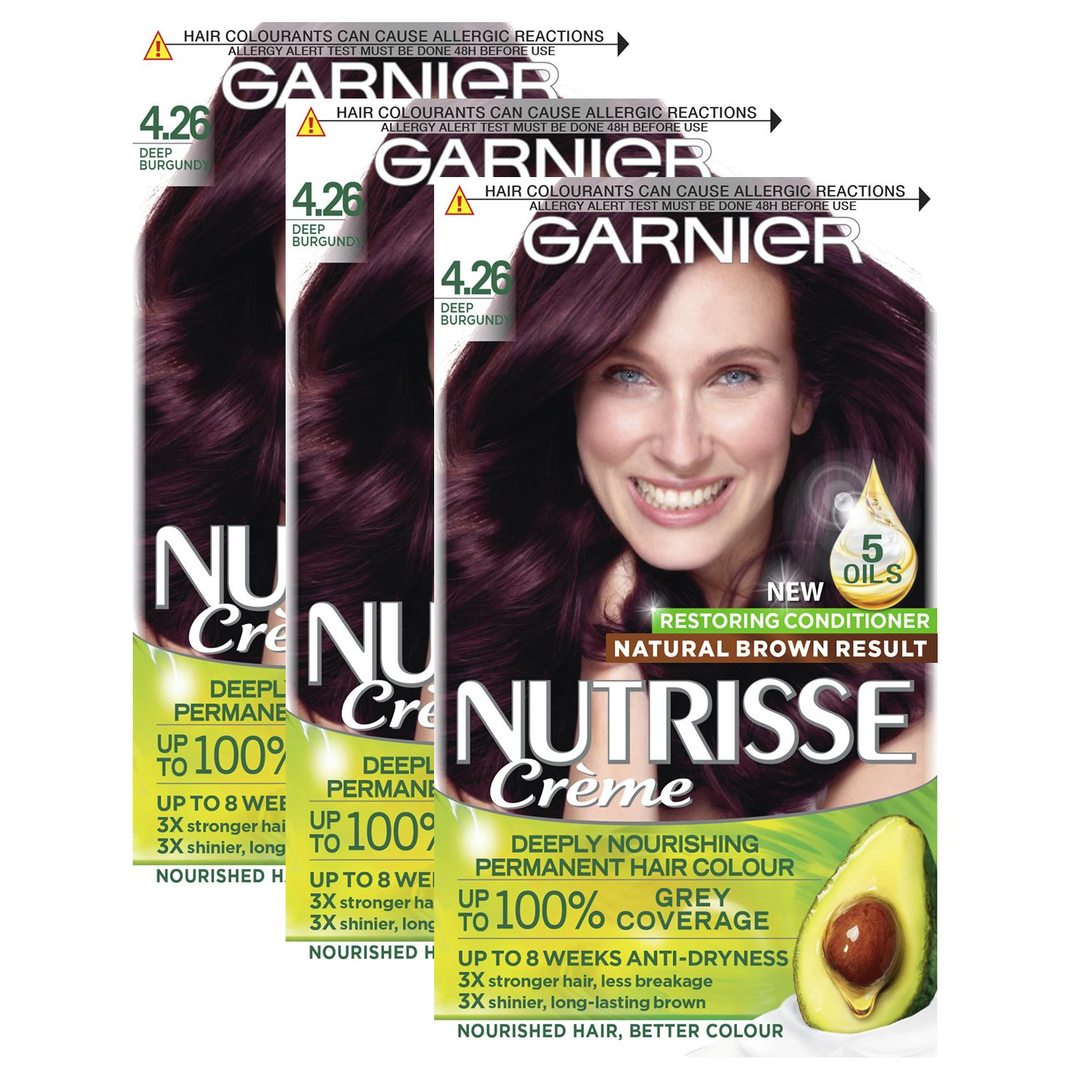 thumbnail 111 - 3 Pack Garnier Nutrisse Permanent Hair Dye With Different Shades