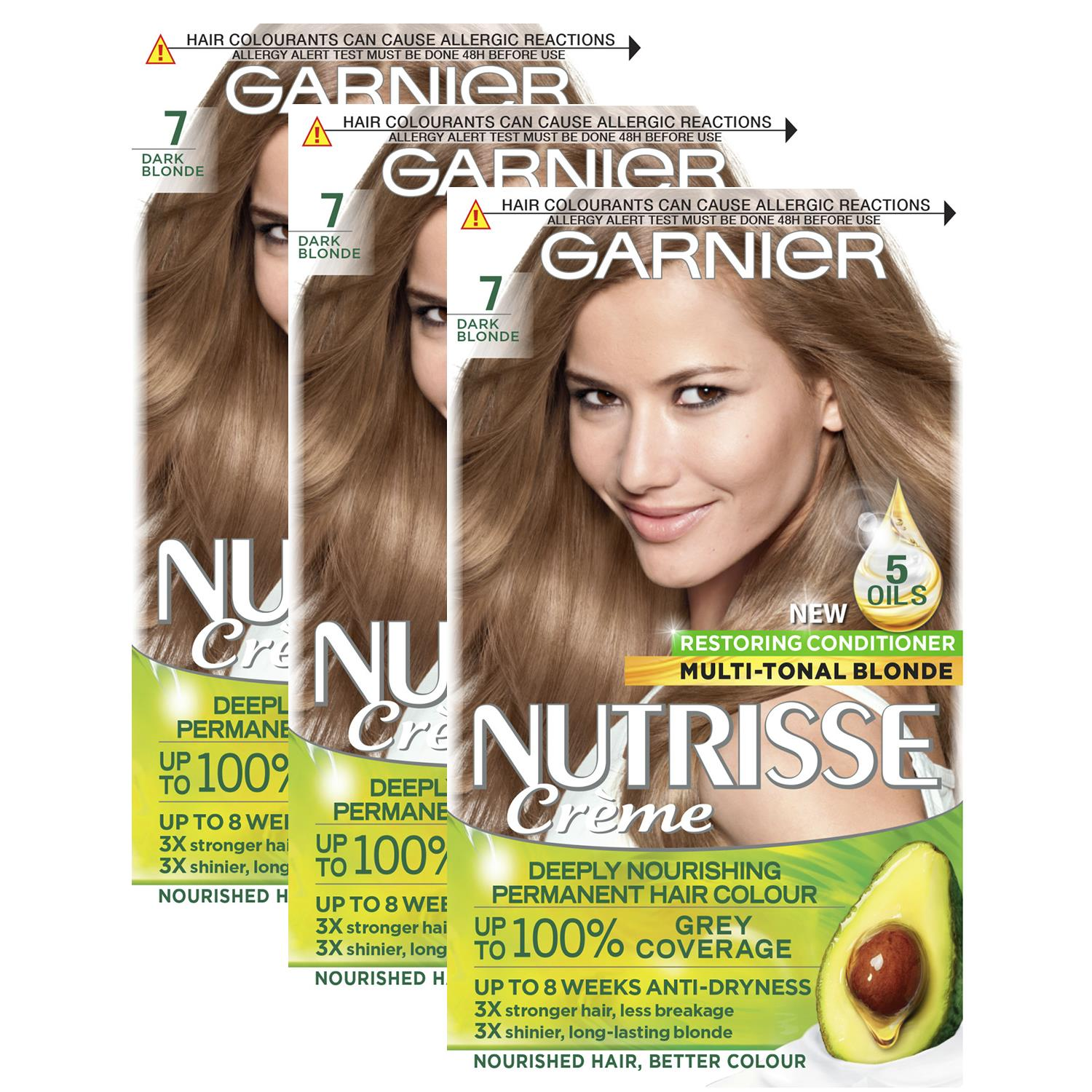 thumbnail 222 - 3 Pack Garnier Nutrisse Permanent Hair Dye With Different Shades