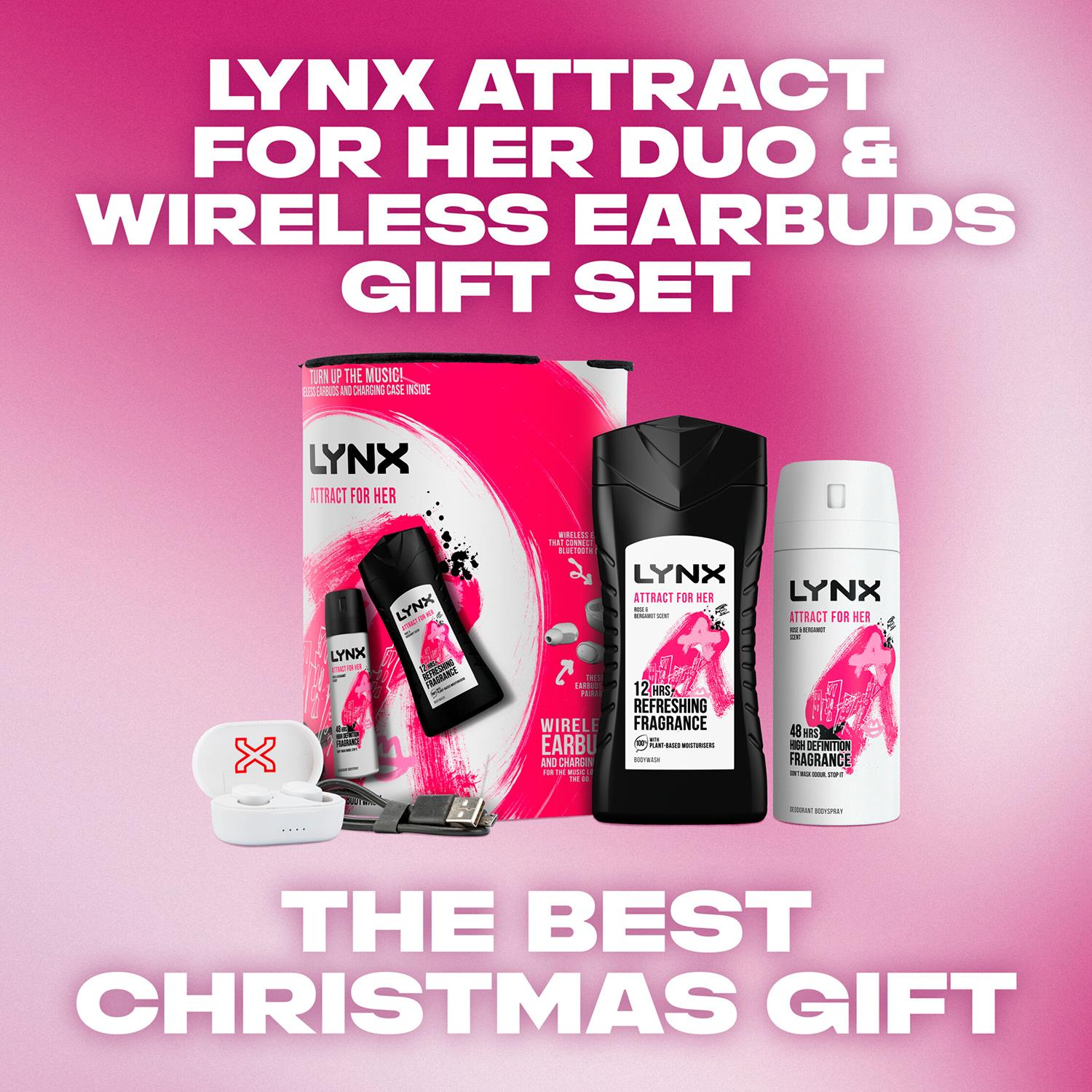thumbnail 41 - Lynx Attract for Her Bodyspray & Bodywash with Wireless Ear Buds 4pcs Gift Set