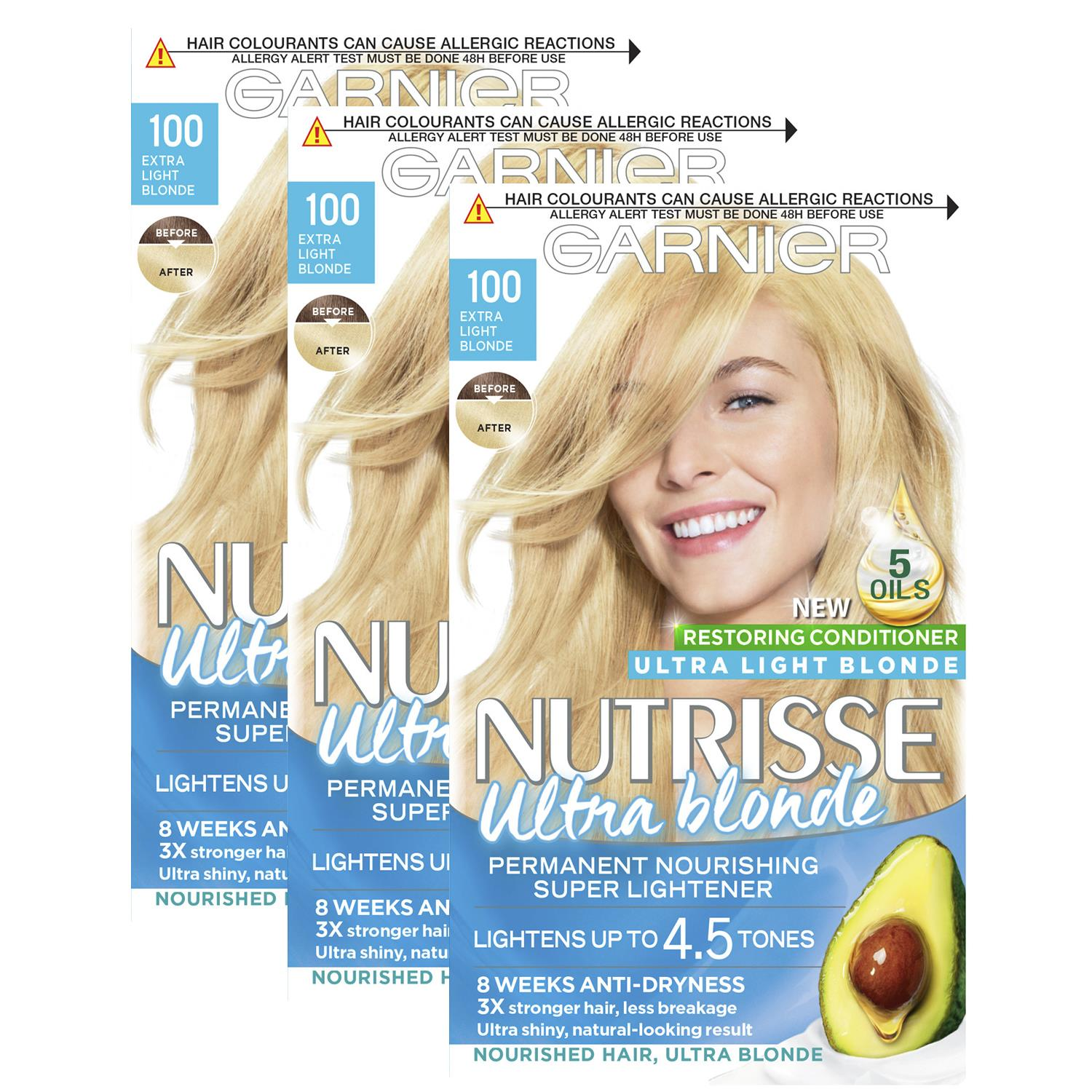 thumbnail 307 - 3 Pack Garnier Nutrisse Permanent Hair Dye With Different Shades