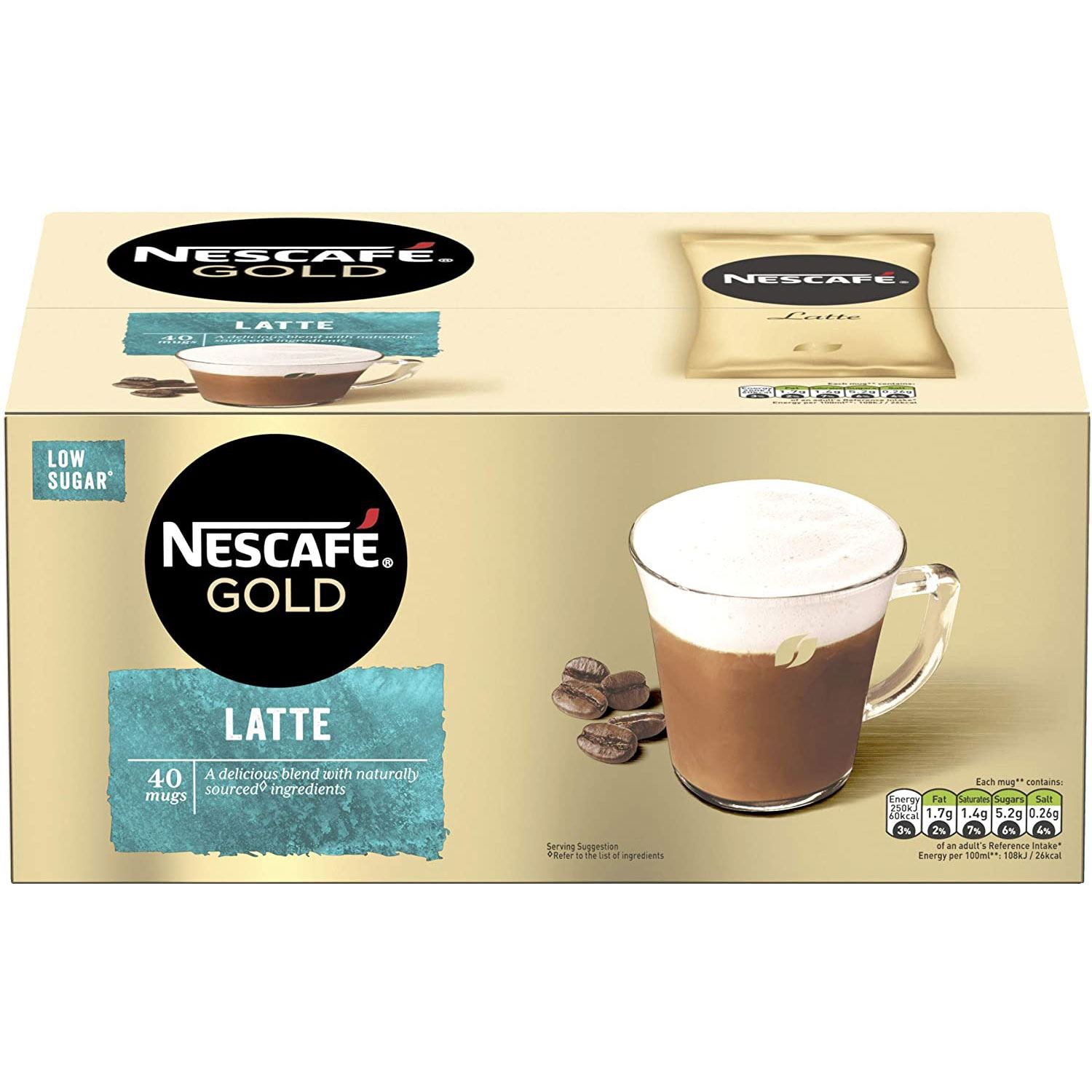 thumbnail 15 - Nescafe Gold Instant Coffee Low Sugar Latte 1kg Tin or 40 Sachets