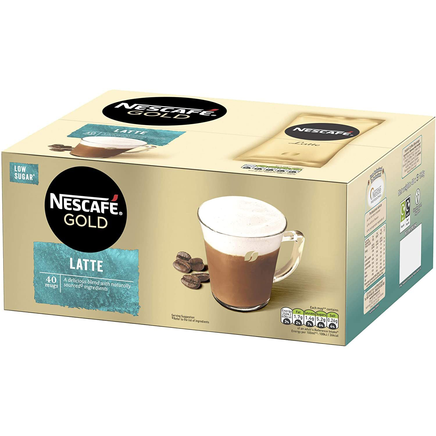 thumbnail 14 - Nescafe Gold Instant Coffee Low Sugar Latte 1kg Tin or 40 Sachets