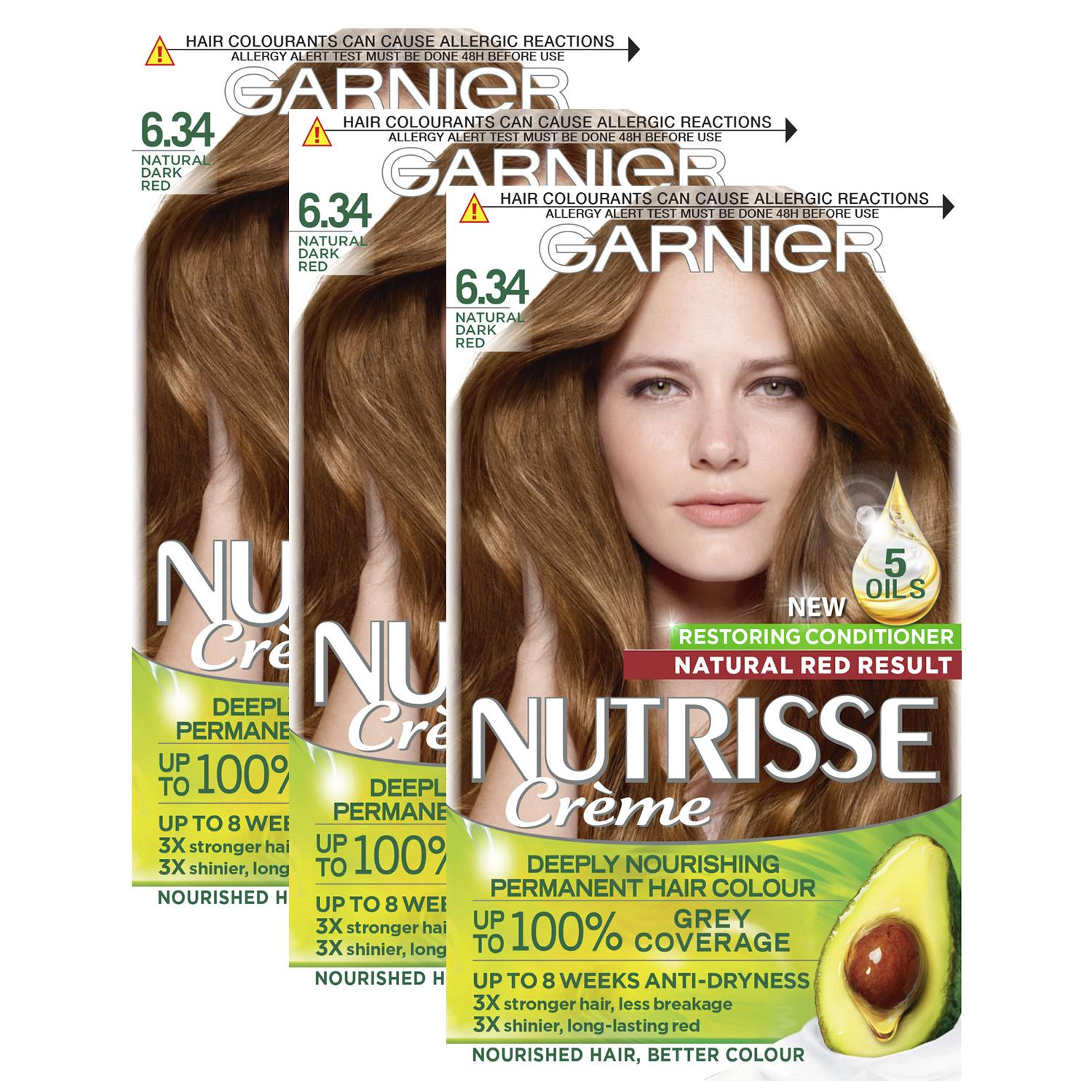 thumbnail 192 - 3 Pack Garnier Nutrisse Permanent Hair Dye With Different Shades