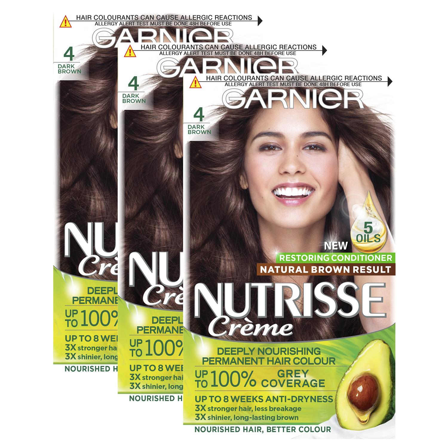 thumbnail 71 - 3 Pack Garnier Nutrisse Permanent Hair Dye With Different Shades
