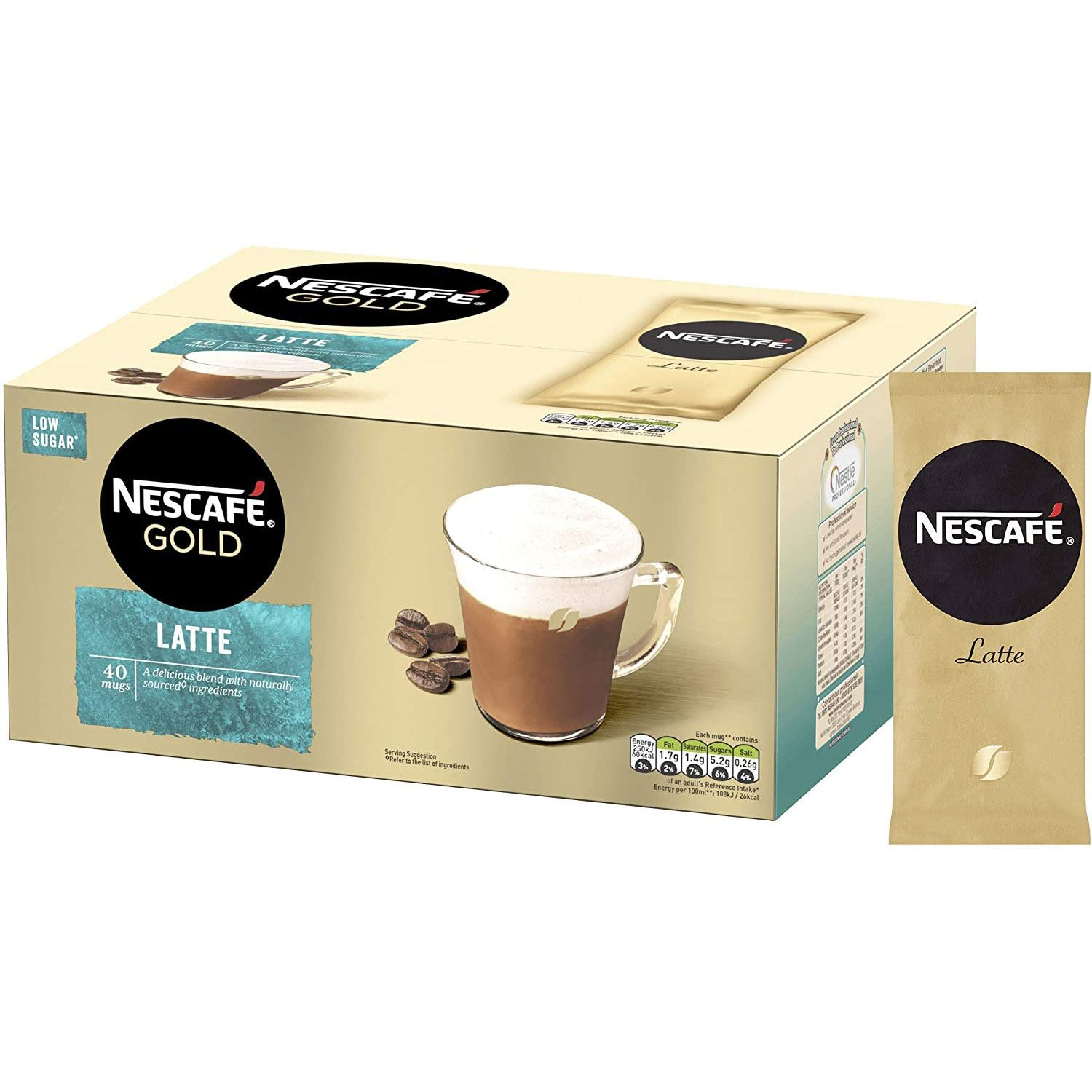 thumbnail 16 - Nescafe Gold Instant Coffee Low Sugar Latte 1kg Tin or 40 Sachets