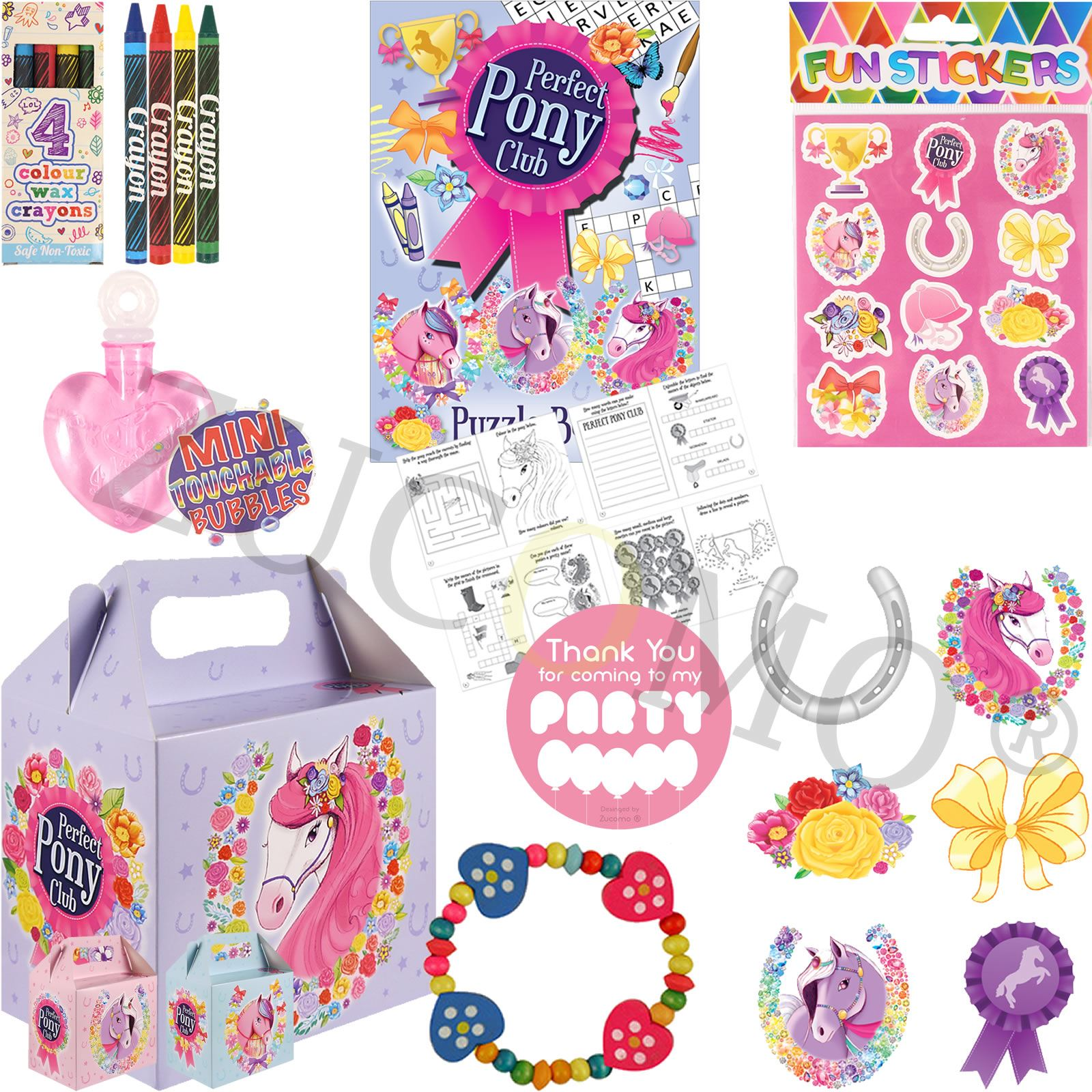 Childrens Filled Party Food Boxes Girls Pony Party Bags & Fillers