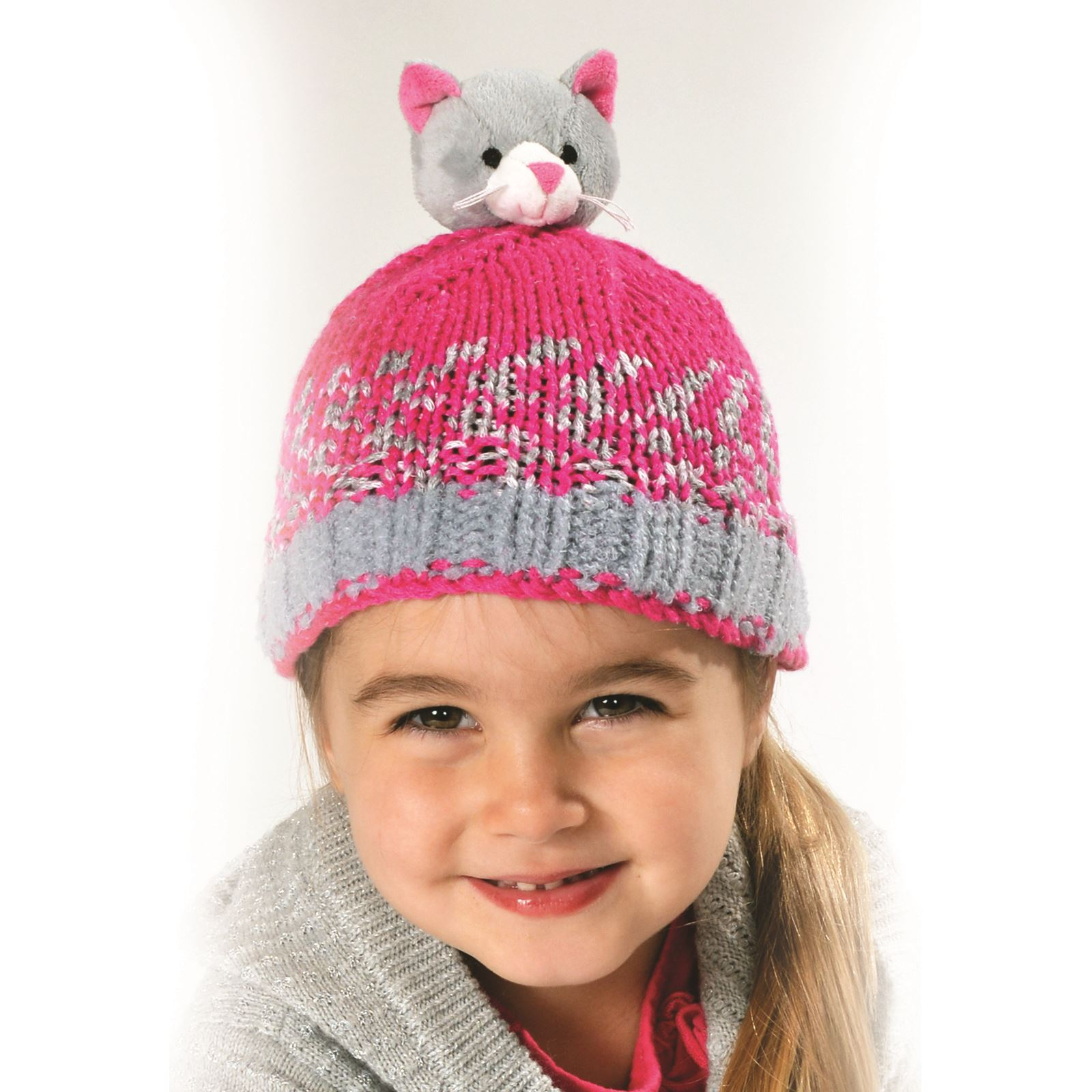 63c6d8173 Details about DMC Top This! Kids Hat Knitting Kits Characters Christmas Wool