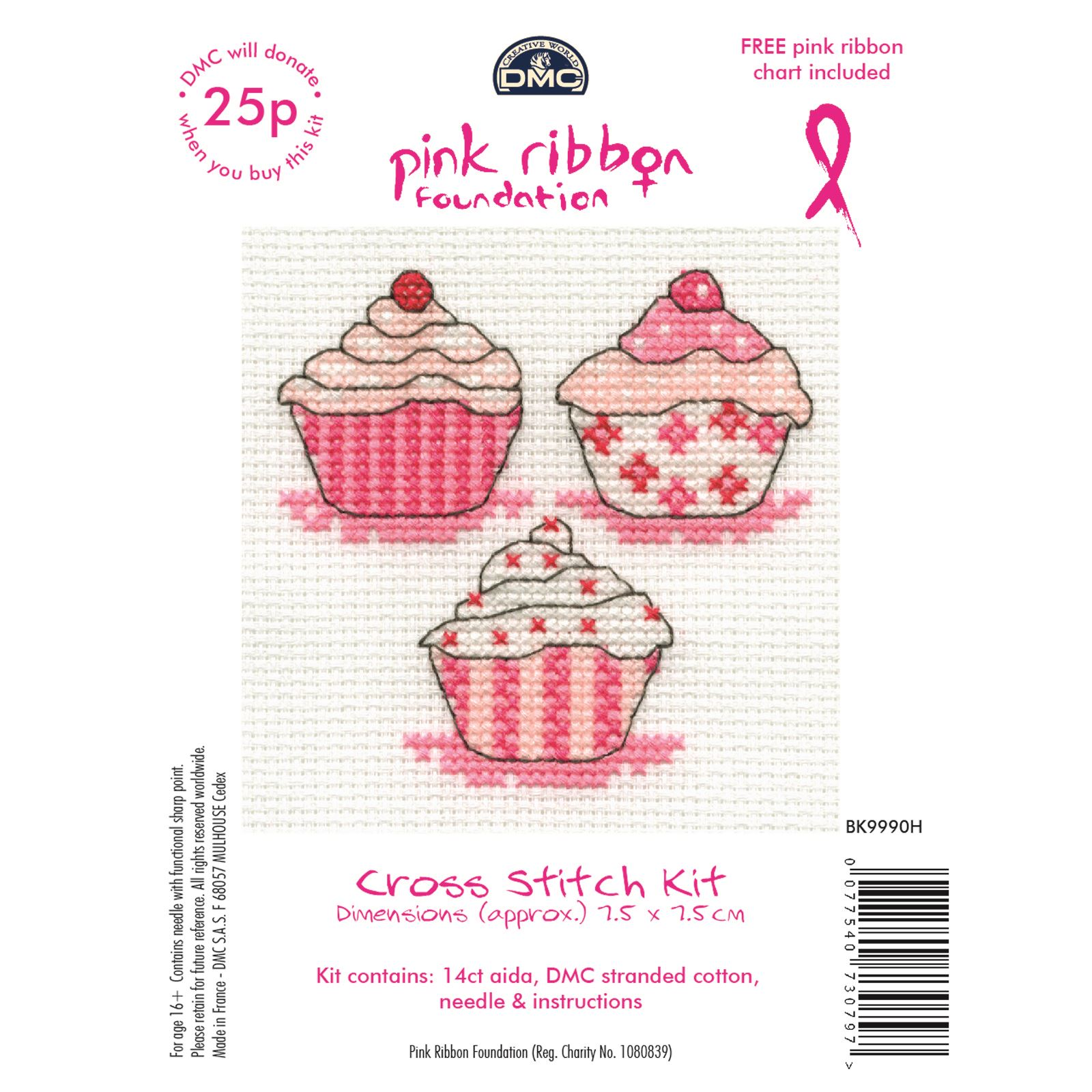 DMC-Mini-Cross-Stitch-Kits-Pink-Ribbon-Foundation-Hearts-Cupcakes-Flowers thumbnail 3