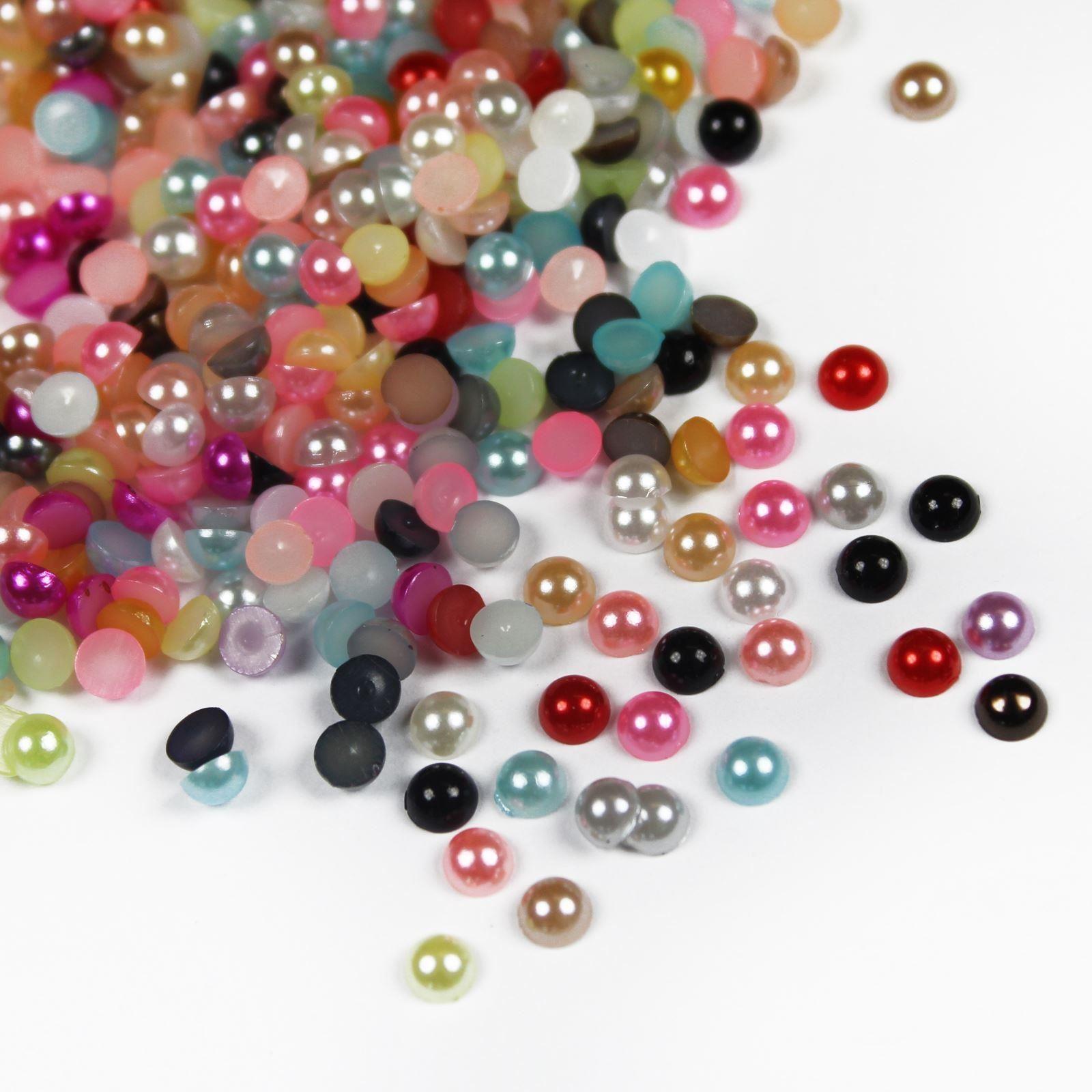 1000-High-Quality-Flat-Back-Half-Round-Pearls-Nail-Art-Craft-Face-Embellishment thumbnail 21
