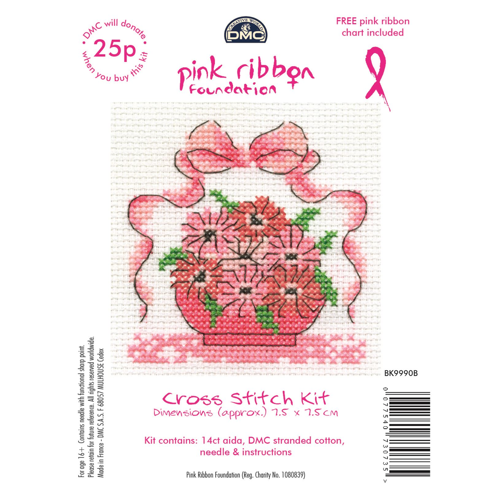 DMC-Mini-Cross-Stitch-Kits-Pink-Ribbon-Foundation-Hearts-Cupcakes-Flowers thumbnail 9