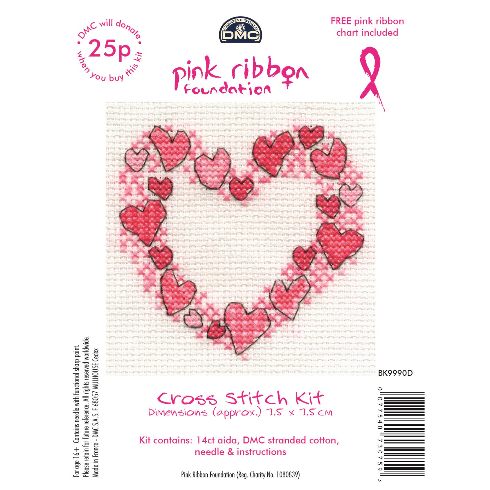 DMC-Mini-Cross-Stitch-Kits-Pink-Ribbon-Foundation-Hearts-Cupcakes-Flowers thumbnail 11