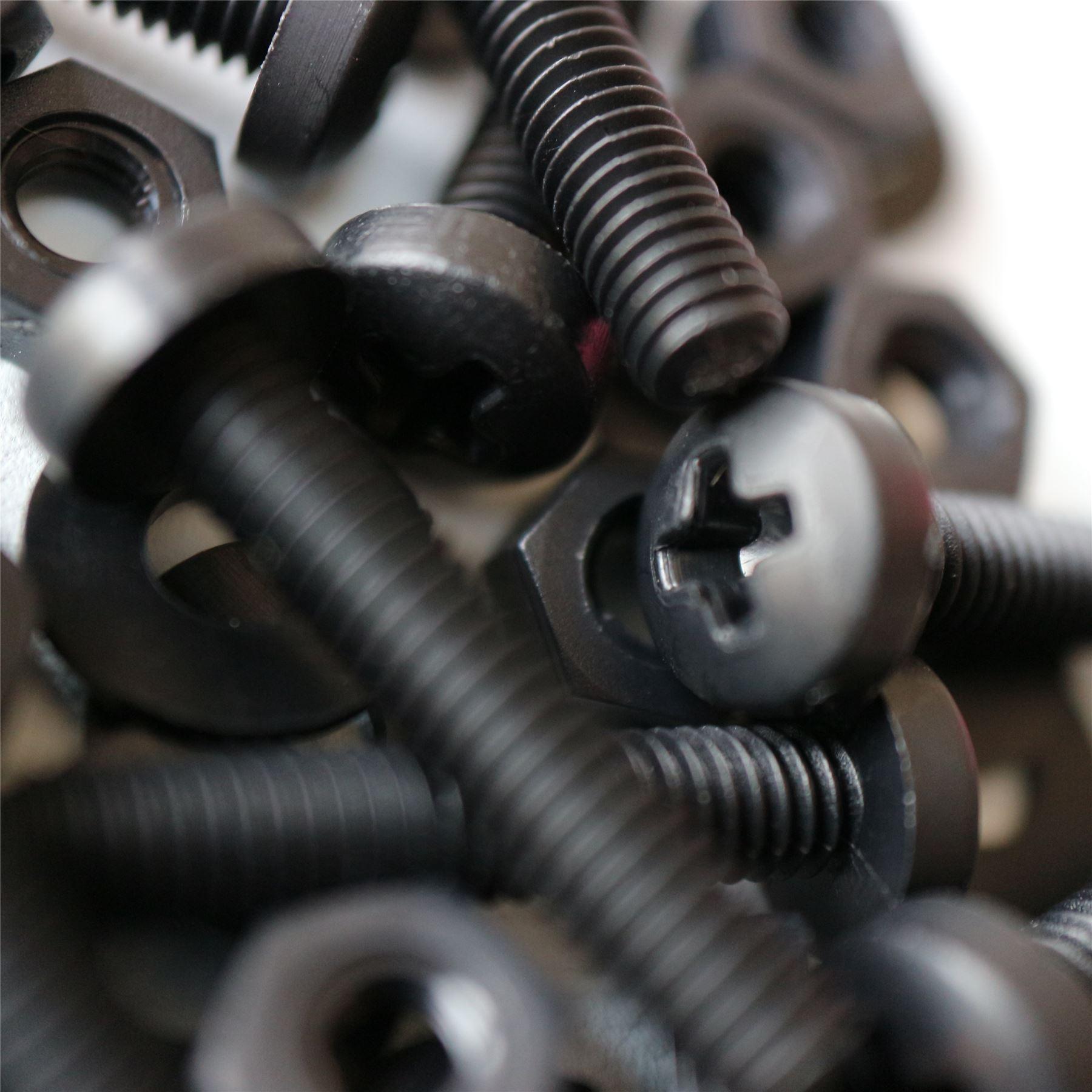 M8 x 40mm PP arandelas 20 x Tornillo de cabeza tronc/ónica Philips Polipropileno Negros resistente al agua acr/ílico Pernos Tornillos y Tuercas de Pl/ástico anticorrosivo