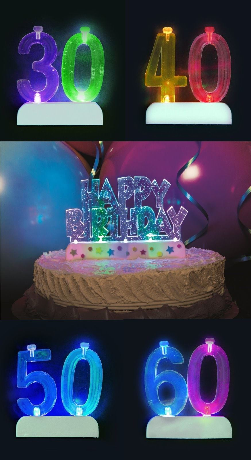 Flashing Number Happy Birthday Candle Holder 4 Candles Cake Decoration