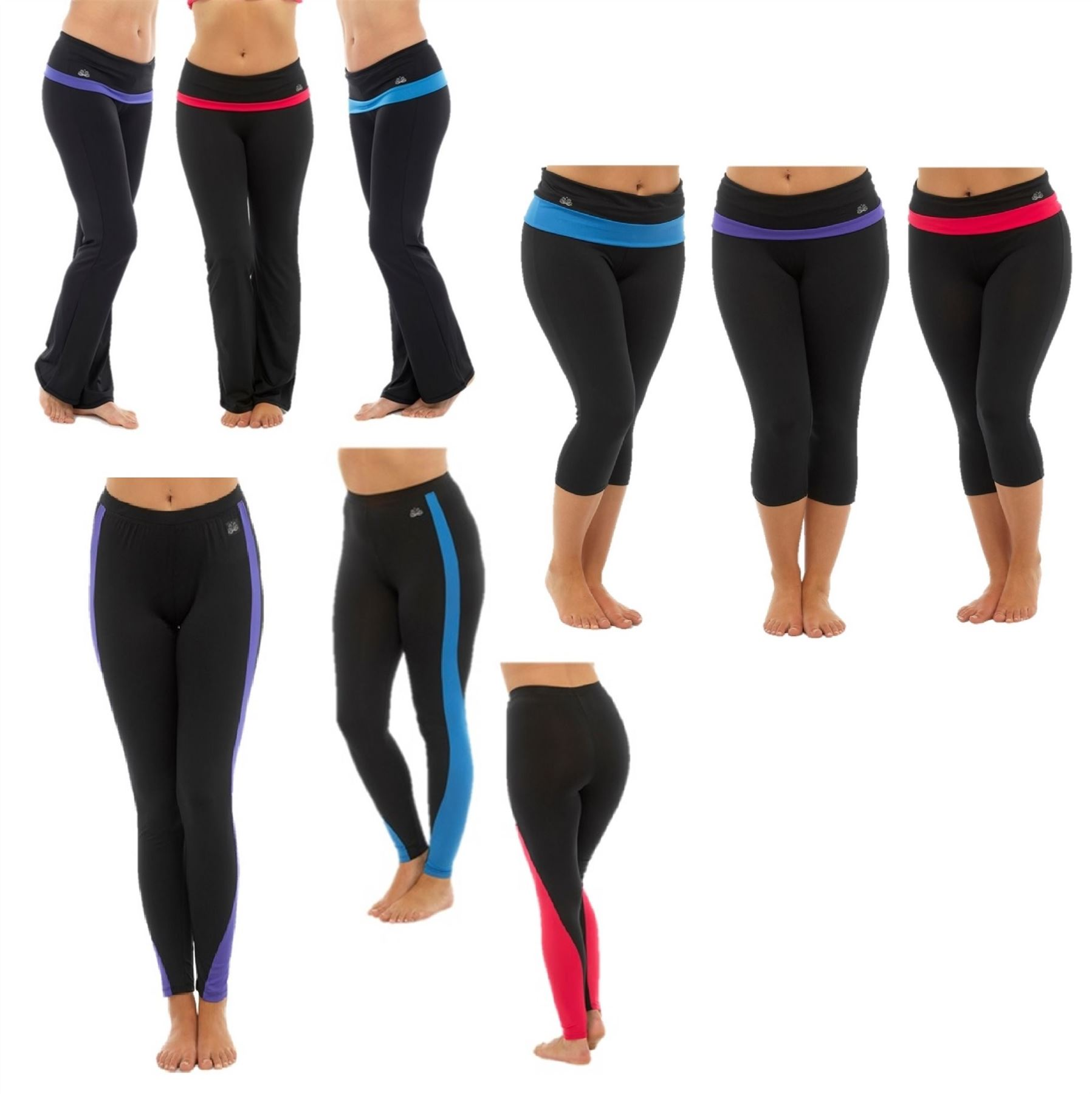 079fa7949e64c Details about Womens Gym Pants Trousers Leggings Running 3/4 Capri Fitness  Exercise Activewear
