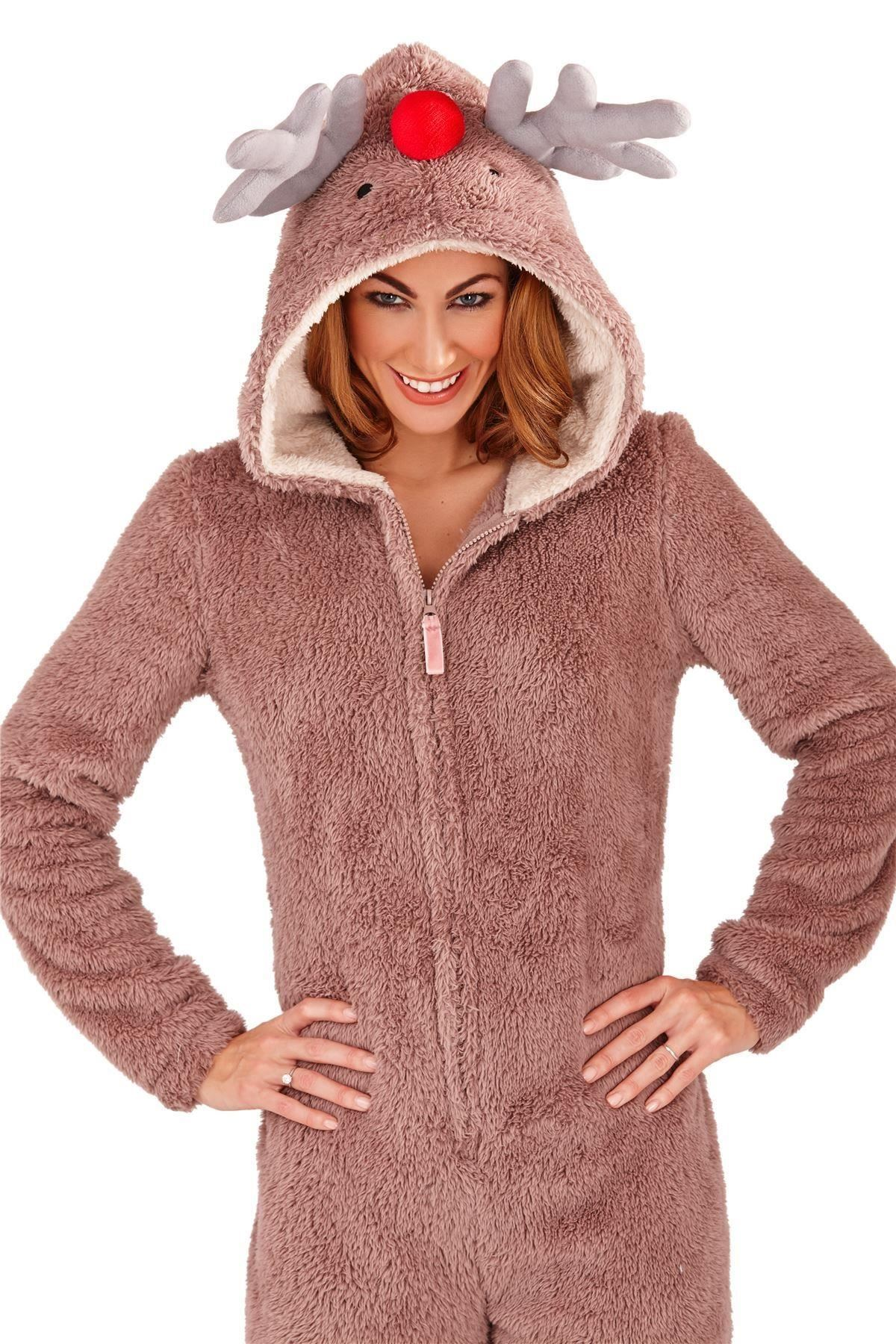 9eee65d05513 Ladies Girls Reindeer Fleece Christmas One Piece All In One Jumpsuit ...