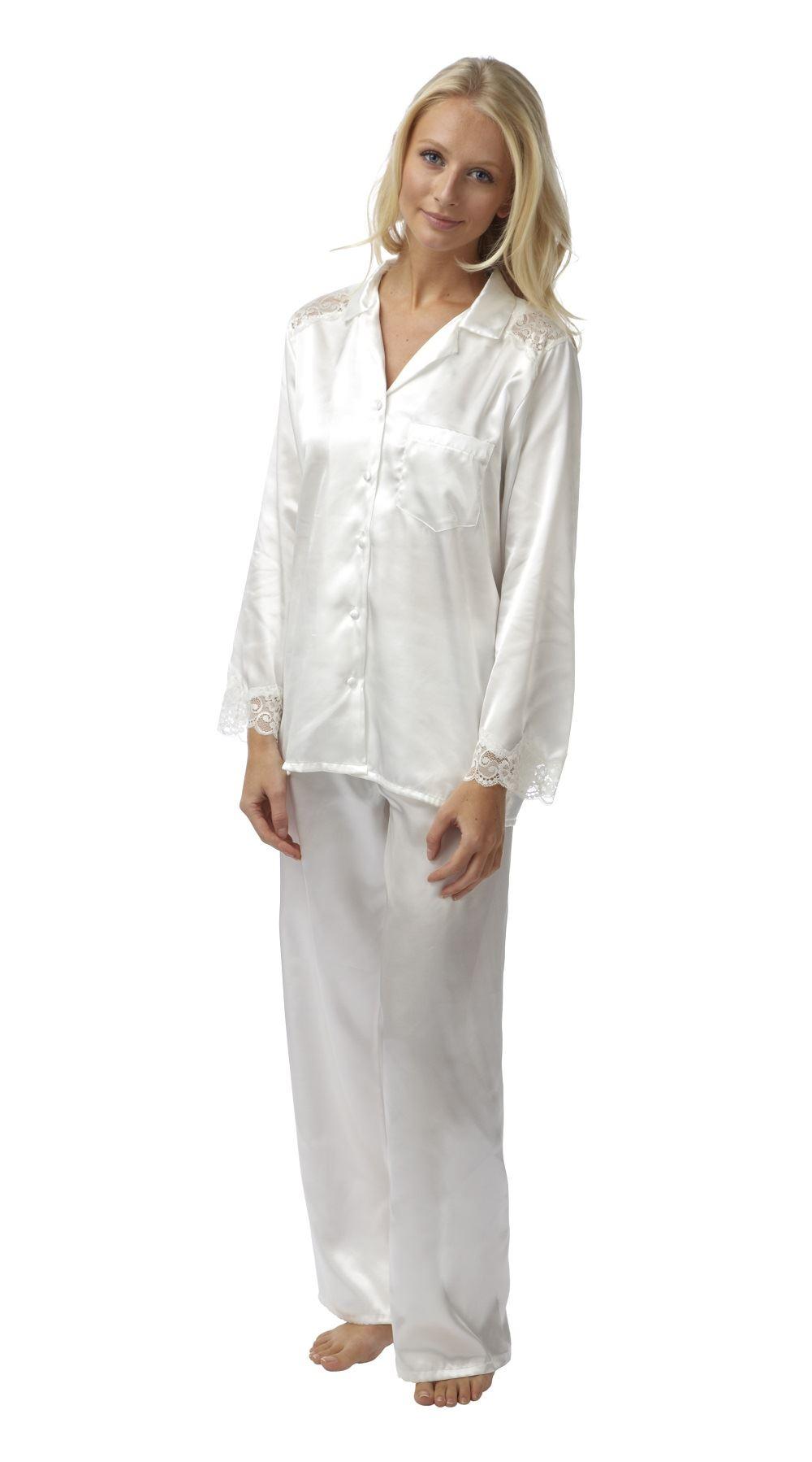 Ladies satin pyjamas pajama plus size 18 20 22 24 26 28  cd9b19e4f