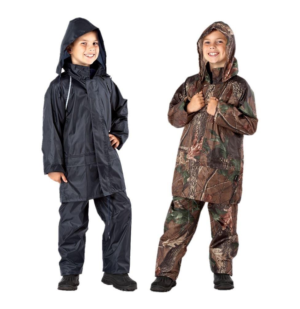 boys Childrens Camouflage Waterproof Rain Suit Coat /& Trousers Pants Jacket Set