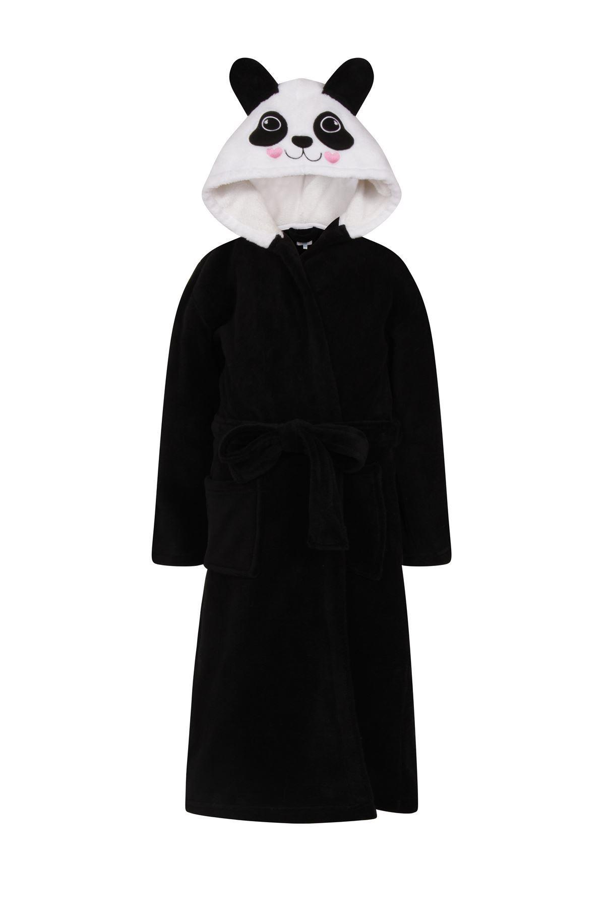 Childrens Fleece Dressing Gown Hooded Bath Robe Panda Nightwear ...