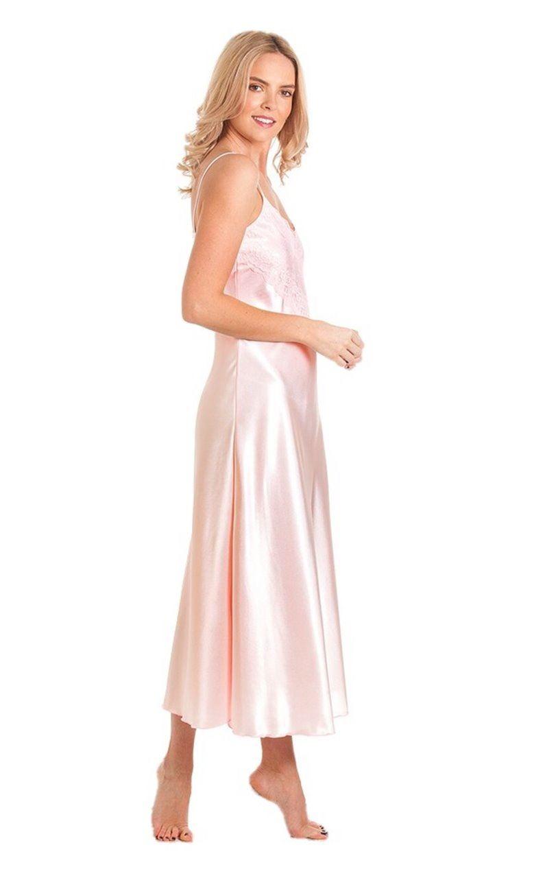 LO Ladies Long Satin Nightdress Nightie Deep Lace Plus Size Nightwear  Sleepwear 8c920fb7a