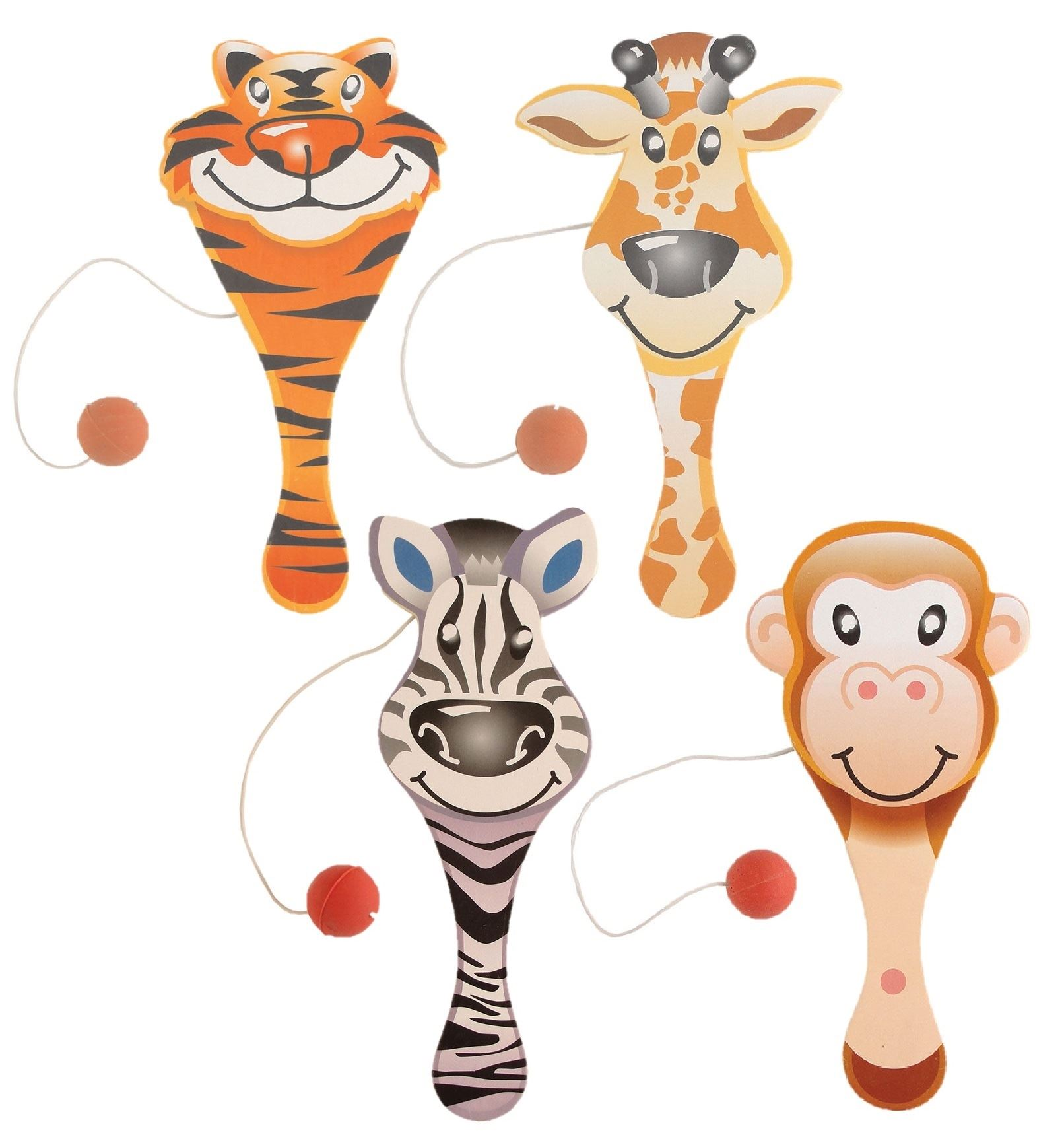 Details About Biff Bats Zoo Animals Wooden Party Favor Stocking Filler Toys