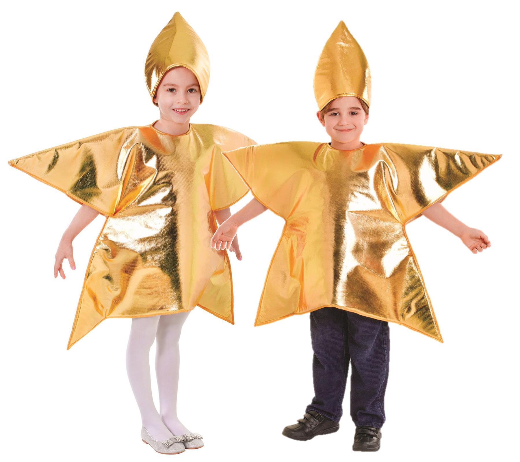 Children Christmas Gold Star Costume Kids Fancy Dress Boys Girls Nativity Outfit