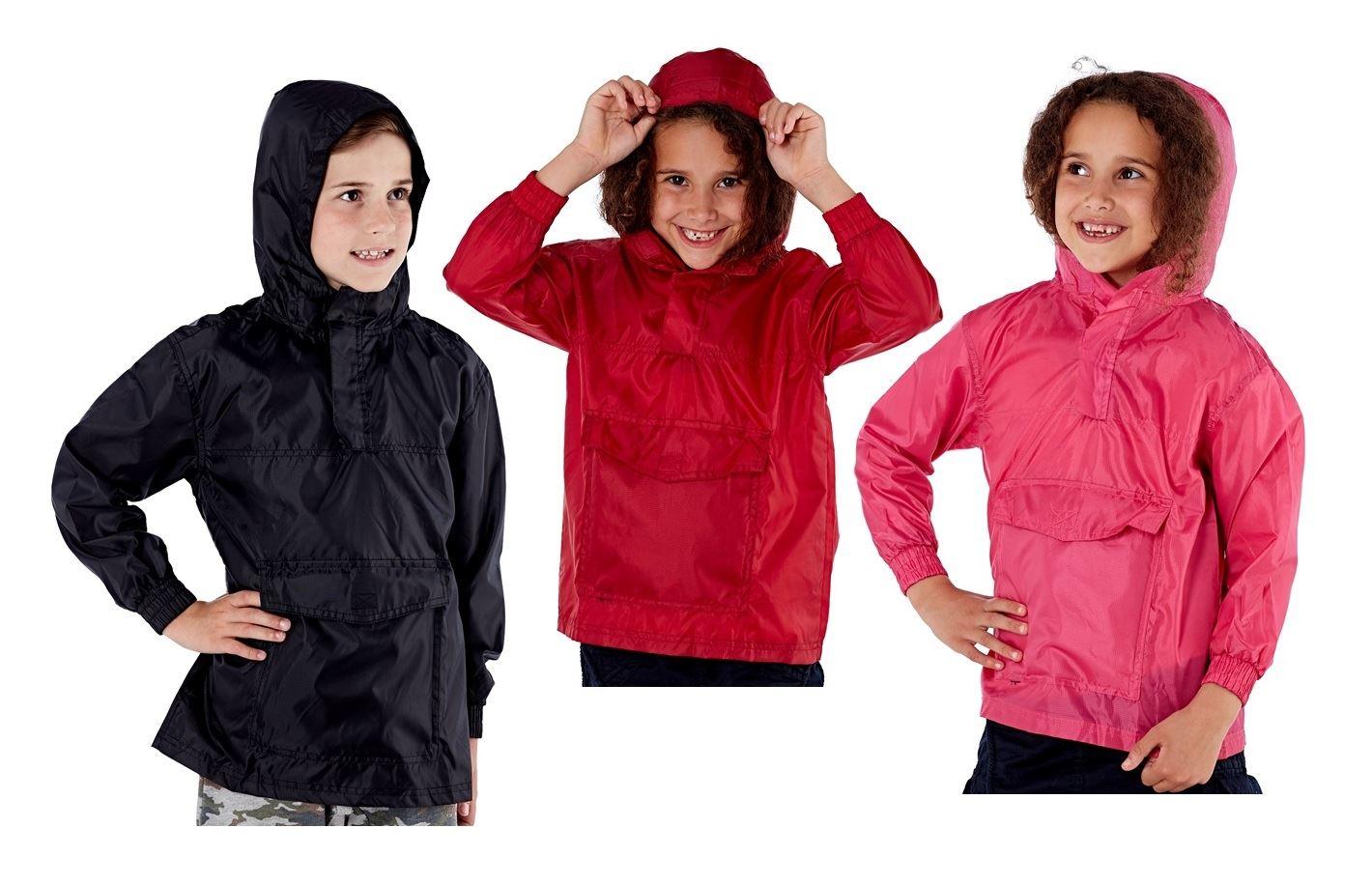 Navy Royal Blue Cagoule in a Bag Red Children Kids Black Showerproof