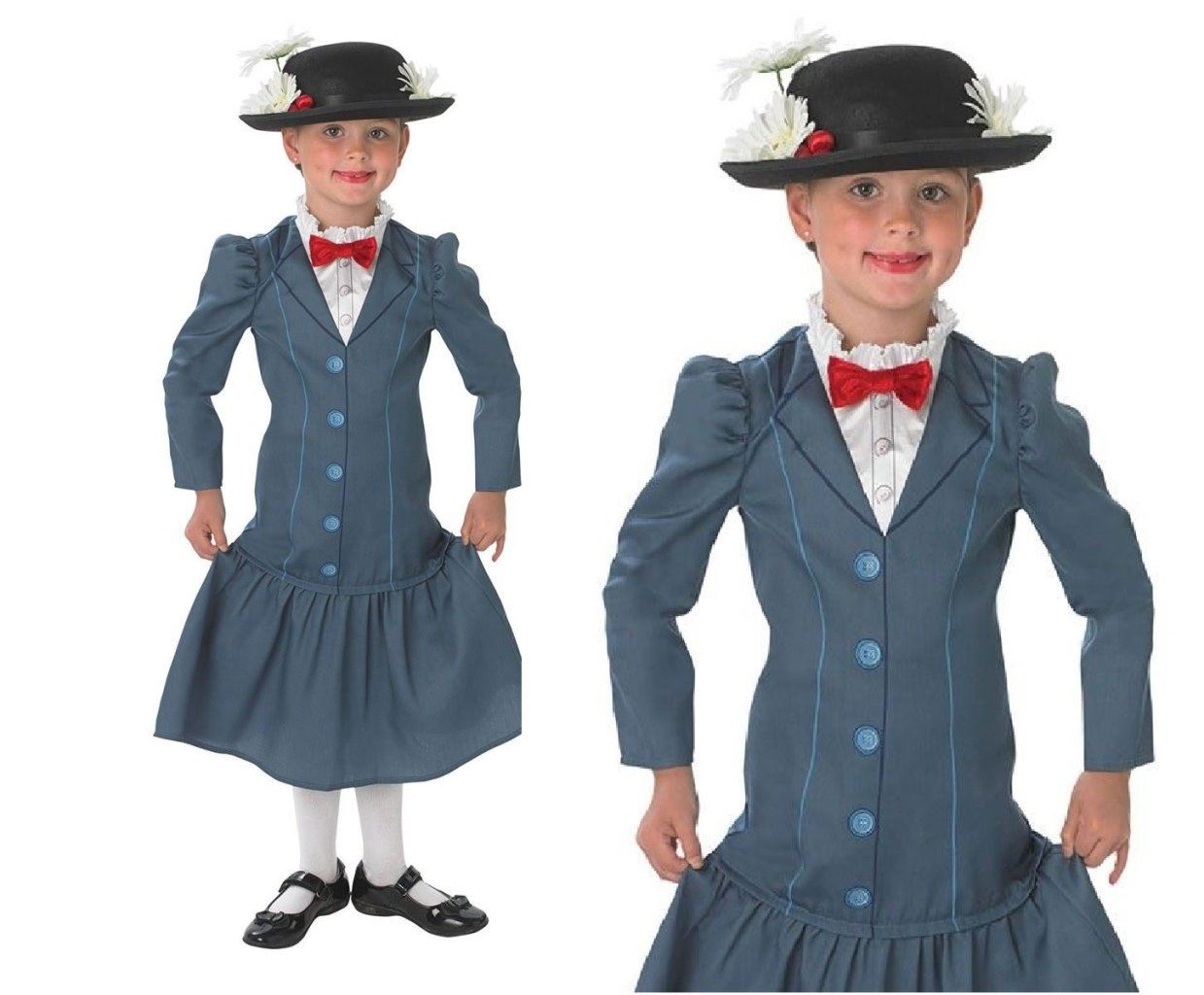Girls Victorian Nanny Mary Poppins Fancy Dress Costume Book Week Outfit