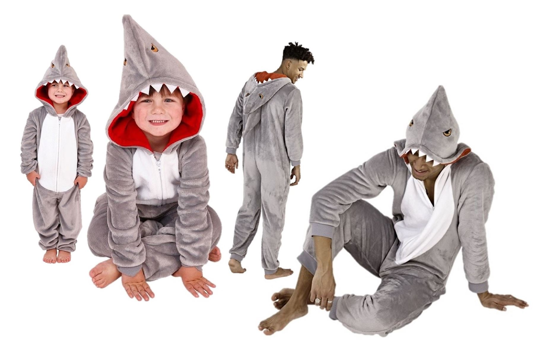 9a0b78a3a Mens Boys Ones All In One Baby Shark Fleece Adult Children Gift ...