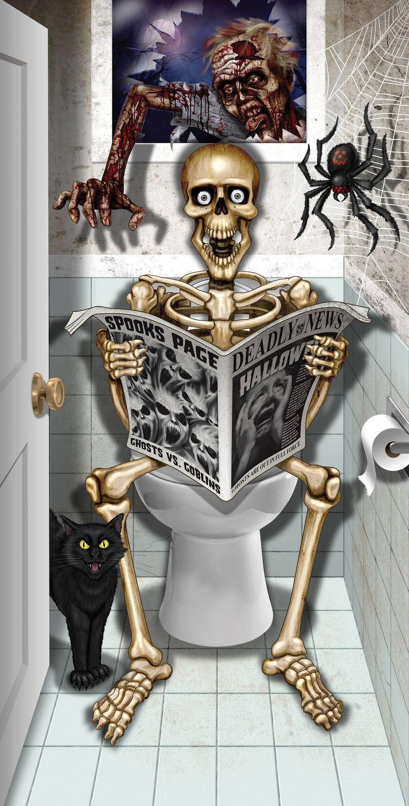 Halloween Decoration Skeleton Bathroom Door Cover Spooky ...