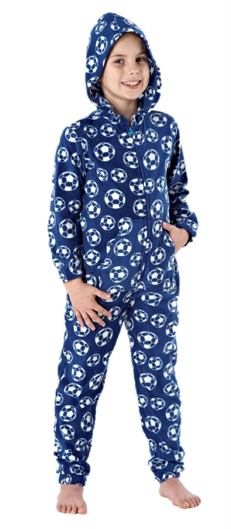 boys-all-in-one-sleepwear-pyjama-pajama-ones-one-piece-hoodie-FOOTBALL thumbnail 9