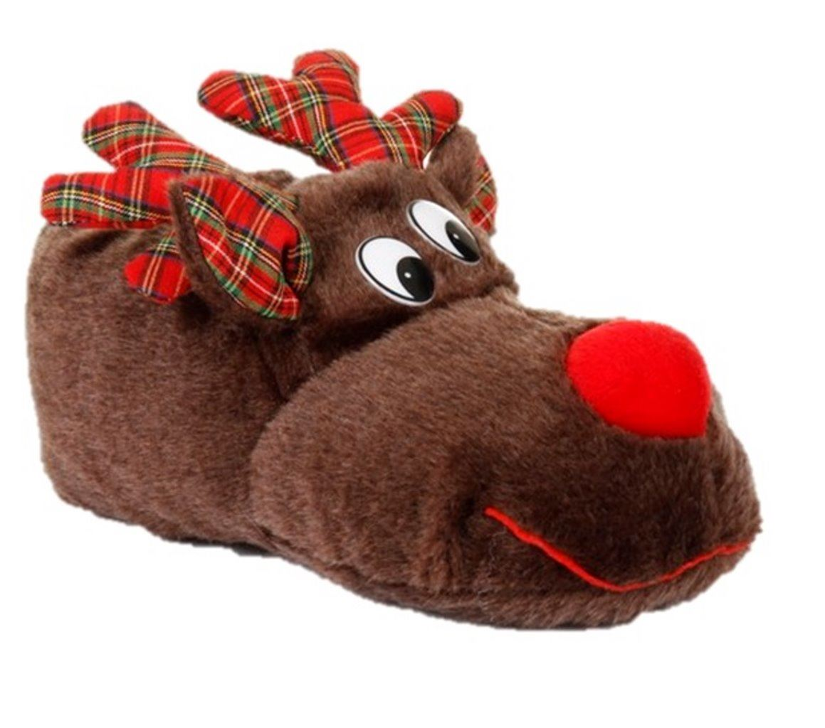 Kids Reindeer Rudolph Christmas Slippers 3D Gift Novelty | eBay