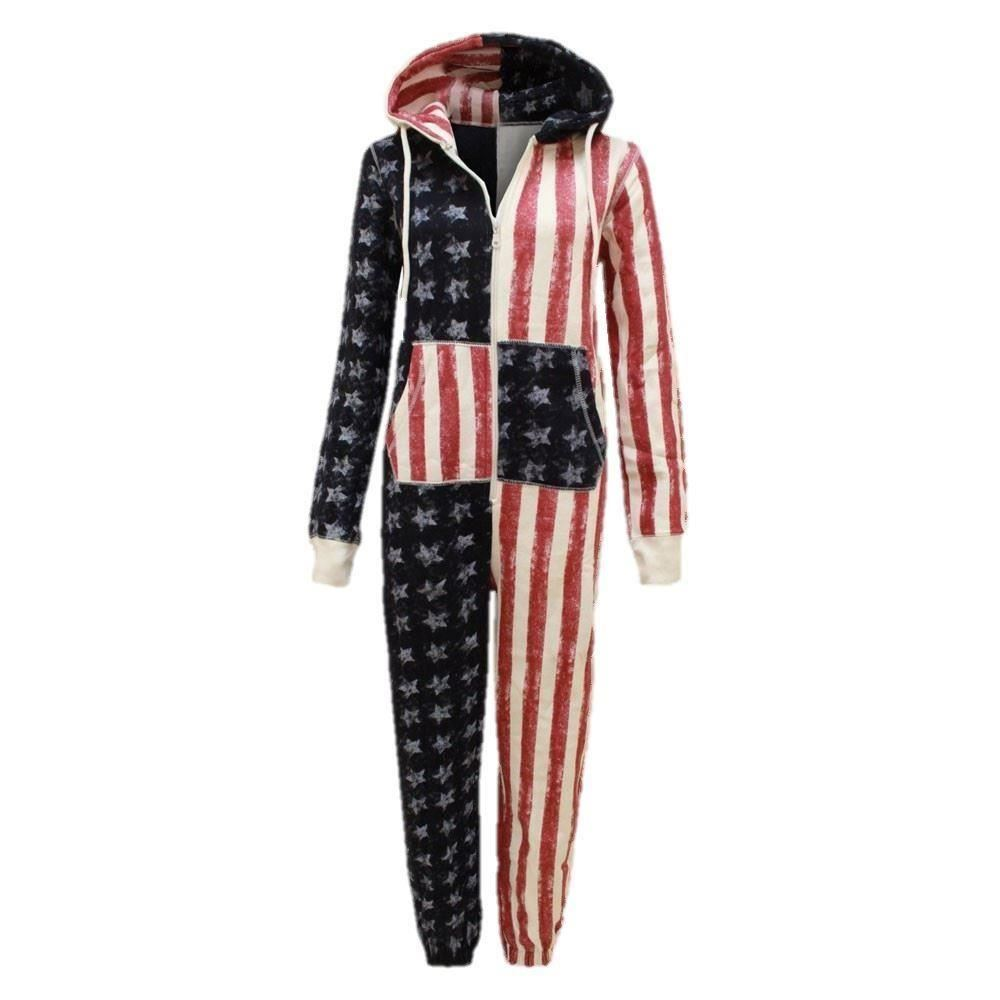 2b4a8342dae9 Kids Girls Boys USA Flag AmericaOnes All in One Hooded Jumpsuit