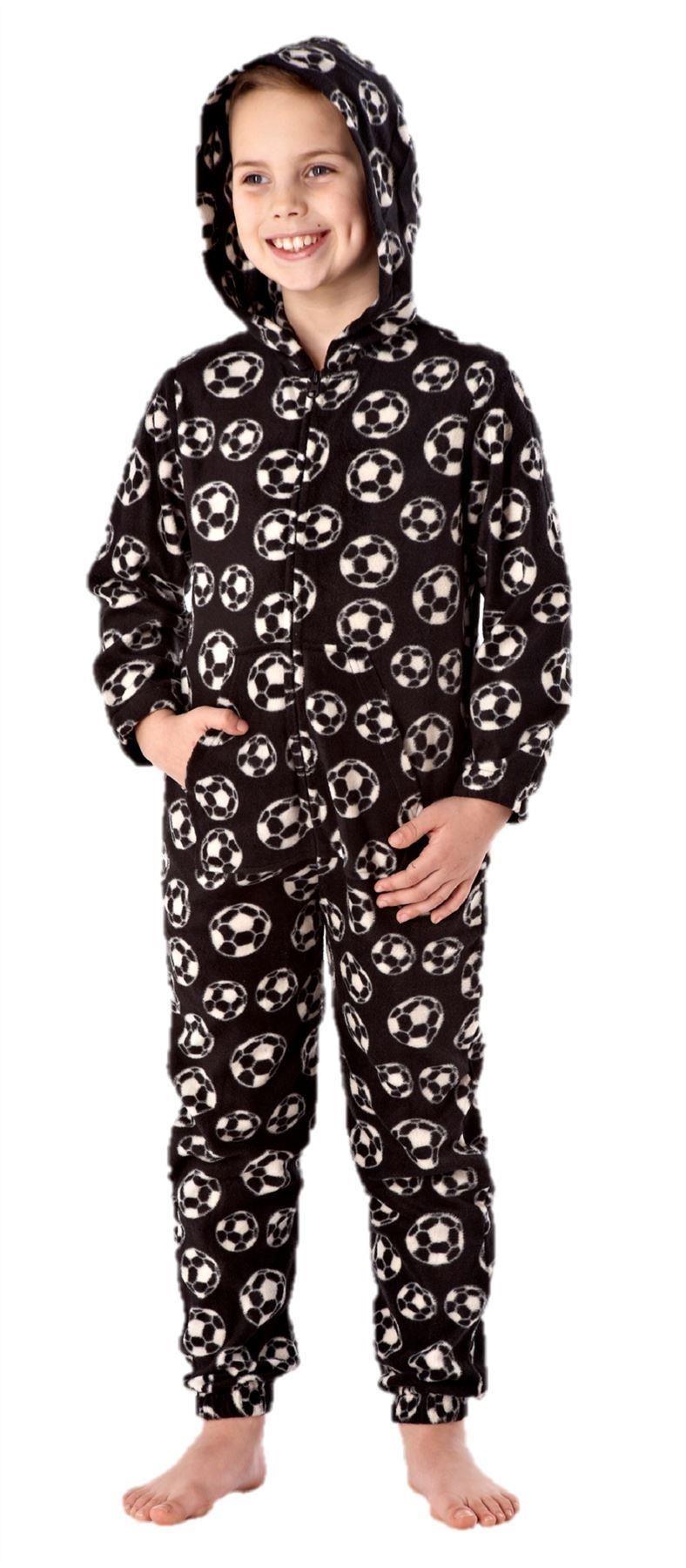 boys-all-in-one-sleepwear-pyjama-pajama-ones-one-piece-hoodie-FOOTBALL thumbnail 3