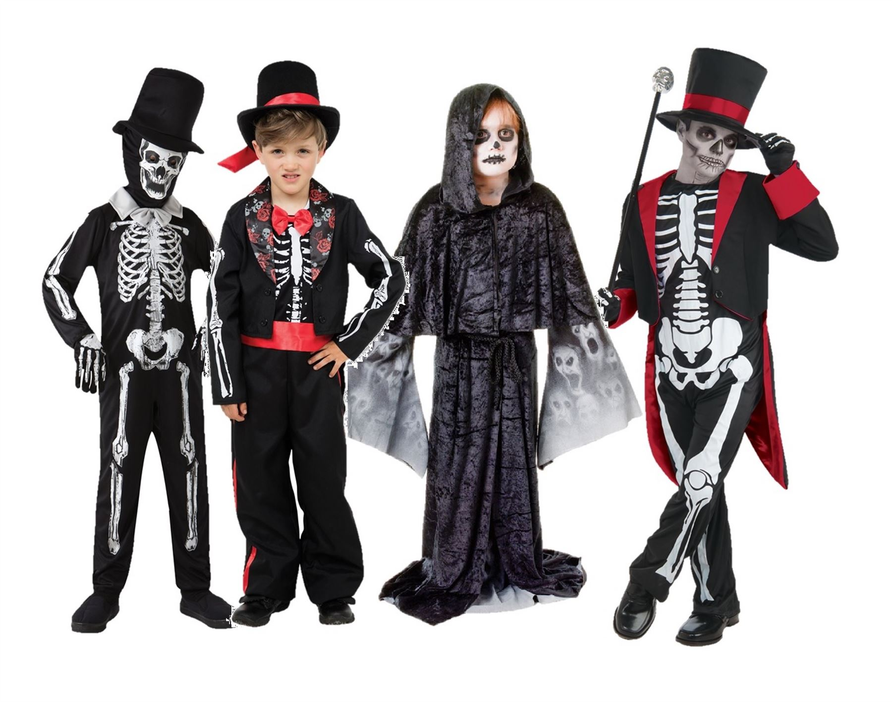Details about Boys Skeleton Suit Day Of The Dead Groom Costume Halloween Fancy Dress Kids