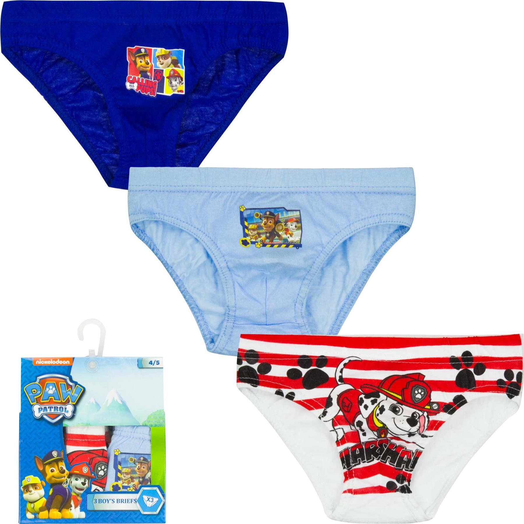 Kids Paw Patrol or Spiderman Briefs Underpants 3 Pack Set