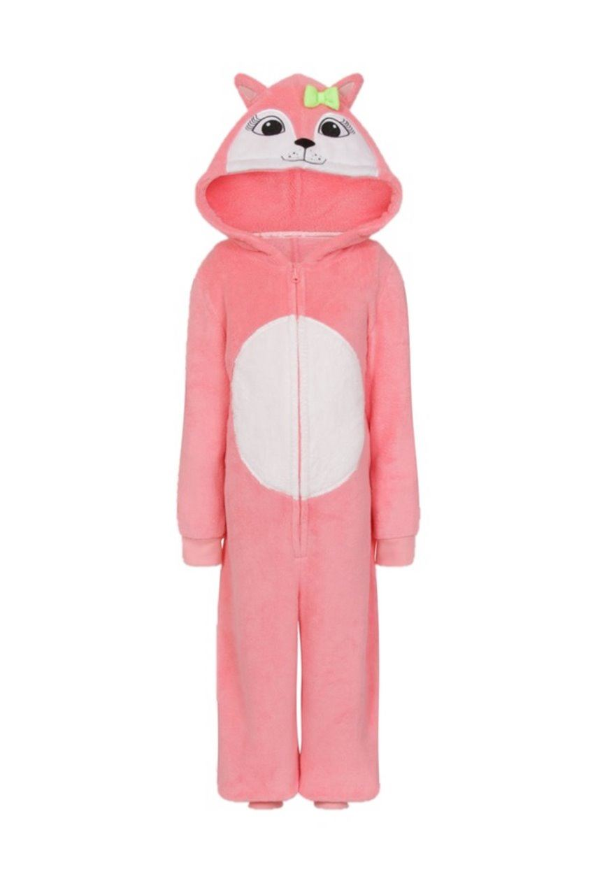 Childrens-Fleece-Hooded-All-In-One-Piece-Jumpsuit-Pyjamas-Pajama-Age-3-13 thumbnail 8