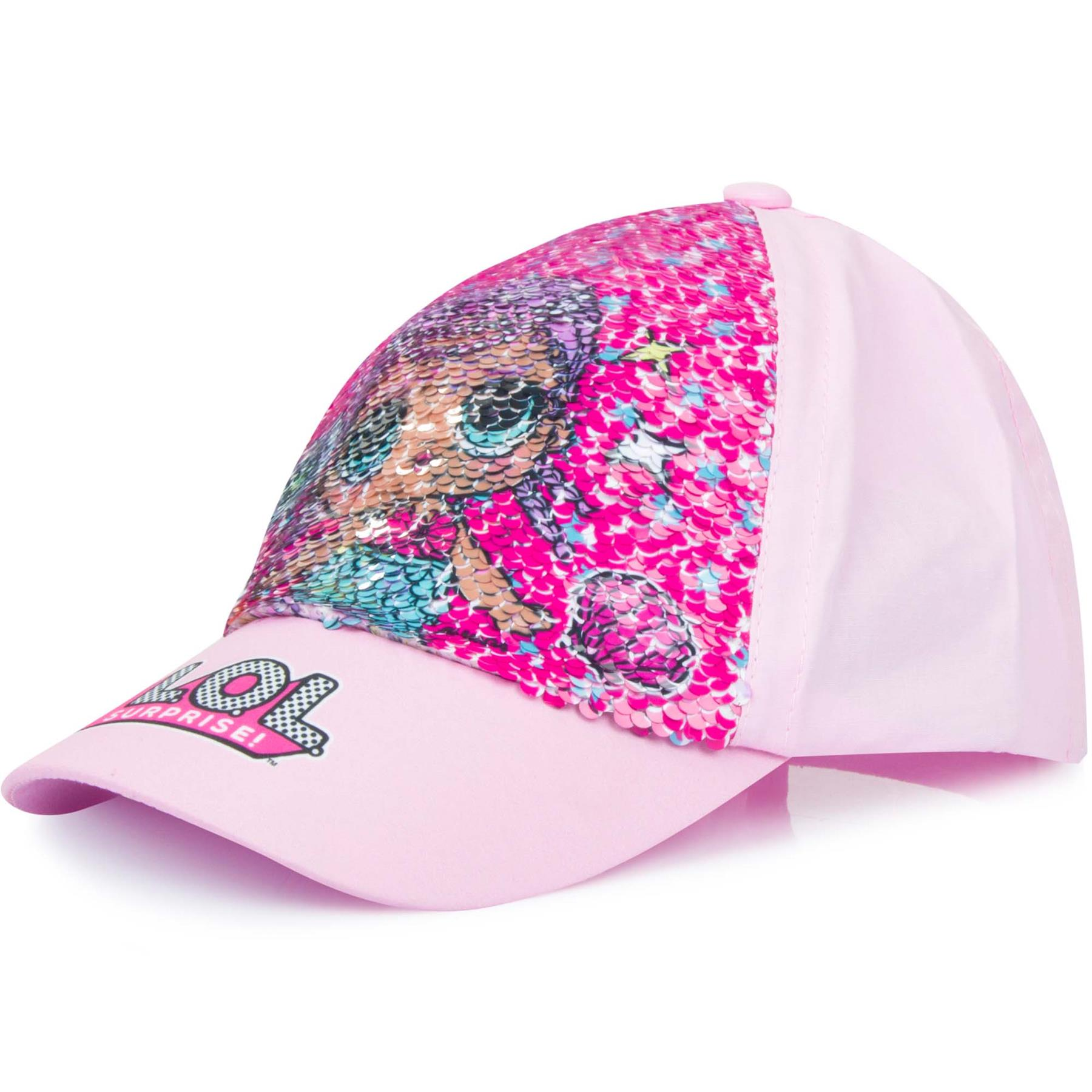 Girls-Cap-LOL-Surprise-Baseball-Reversible-Pink-Sequin-Hat-Sun-Summer thumbnail 4