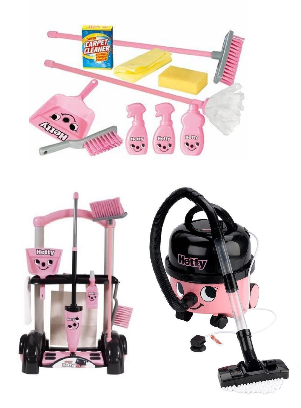 Hetty Cleaning Trolley Toys Hoover Vacuum Role Play Kids