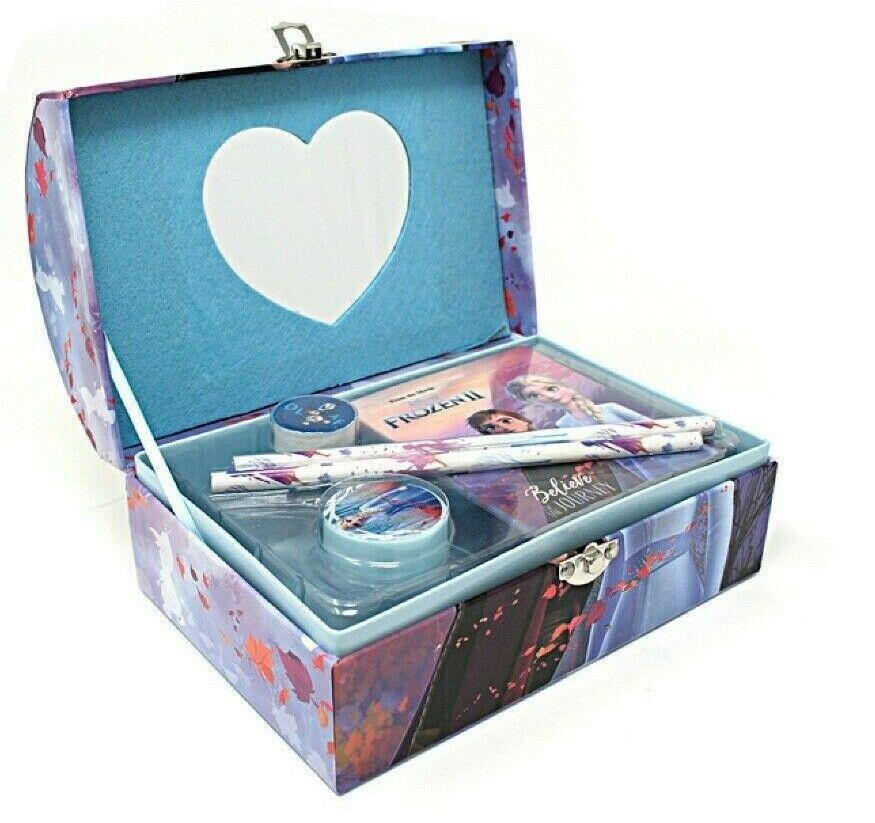 thumbnail 4 - Disney Frozen 2 Elsa Stationary Gift Set Case Chest Pencil Case Stocking Filler