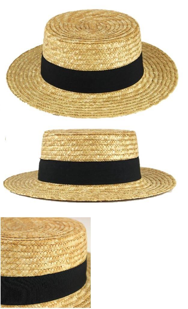 Boater Straw Hat Sailor Sun Skimmer Summer Wide Brim