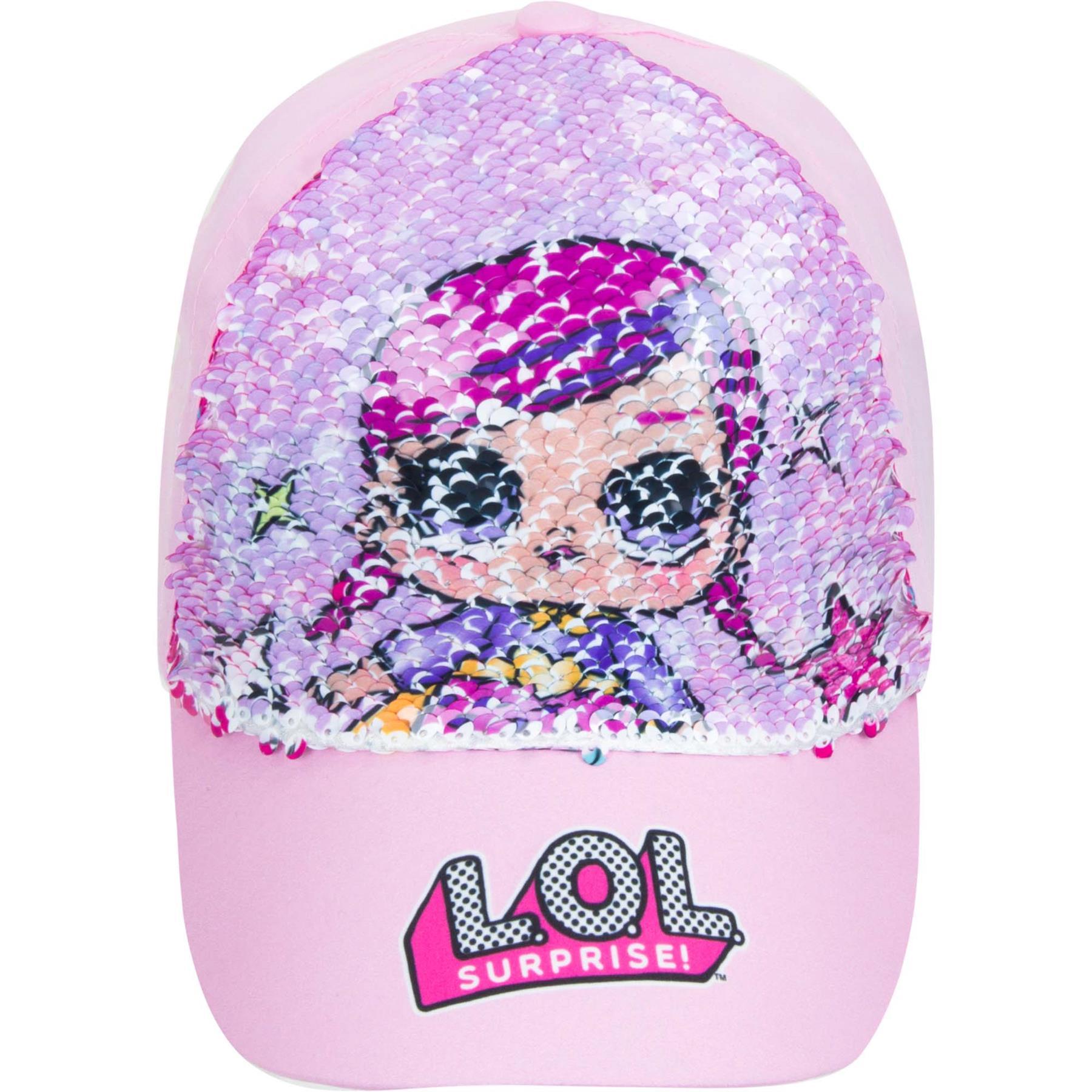 Girls-Cap-LOL-Surprise-Baseball-Reversible-Pink-Sequin-Hat-Sun-Summer thumbnail 3