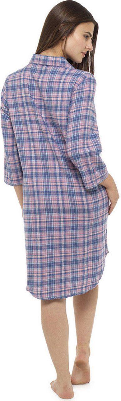 46d73b463518 Ladies Girls Pink Check Nightshirt Nightwear Nightie Sleepwear 100 ...