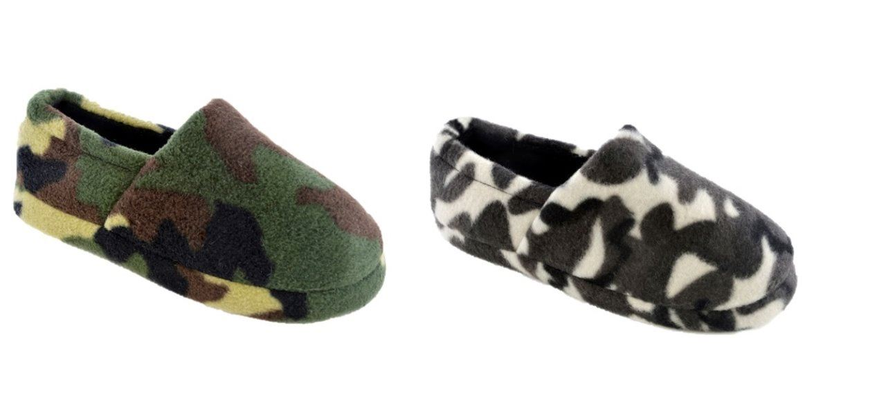 Boys Novelty Slippers Army Camo size 9-3