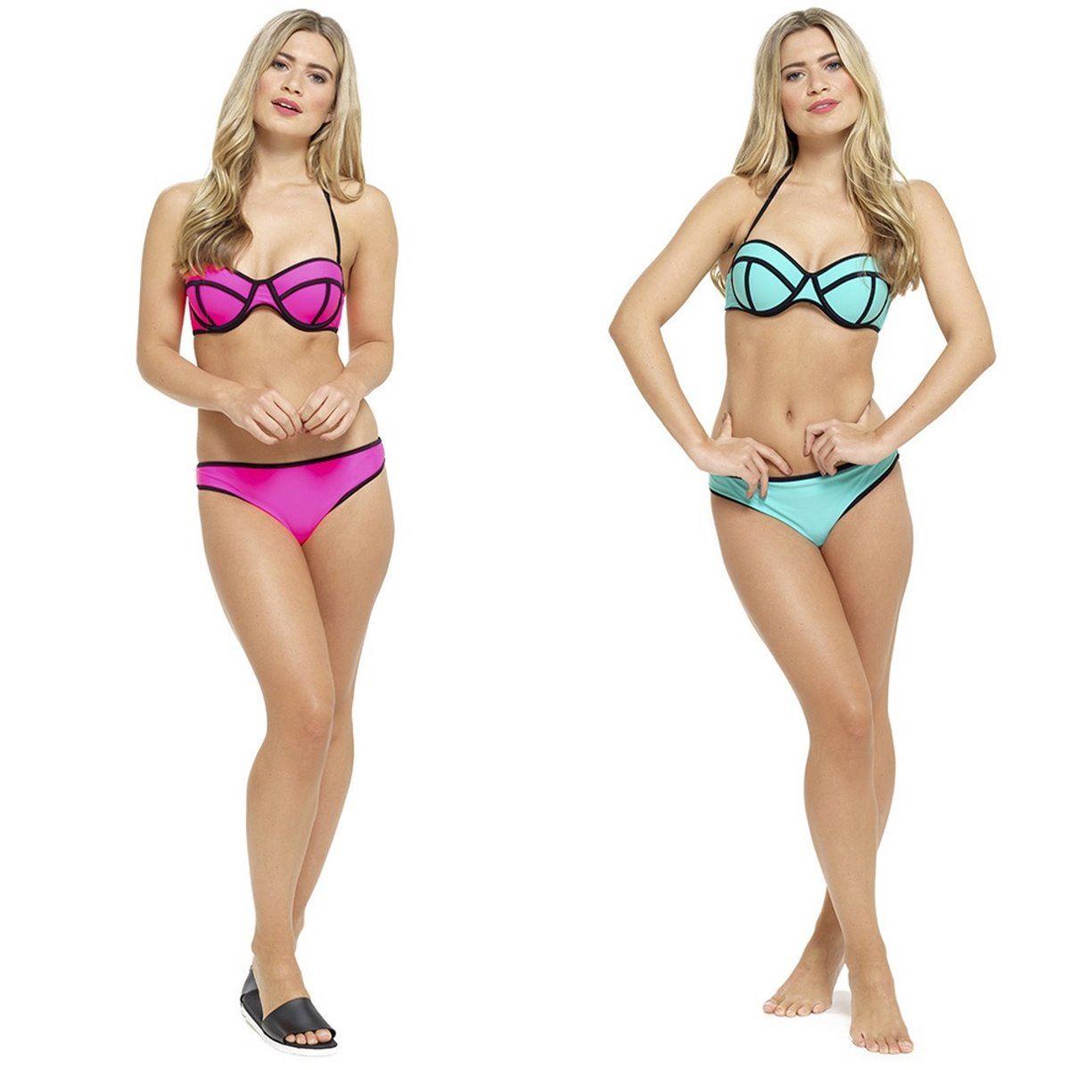 131266c647 aqua pink neon bikini set bright swimwear black outline summer halterneck