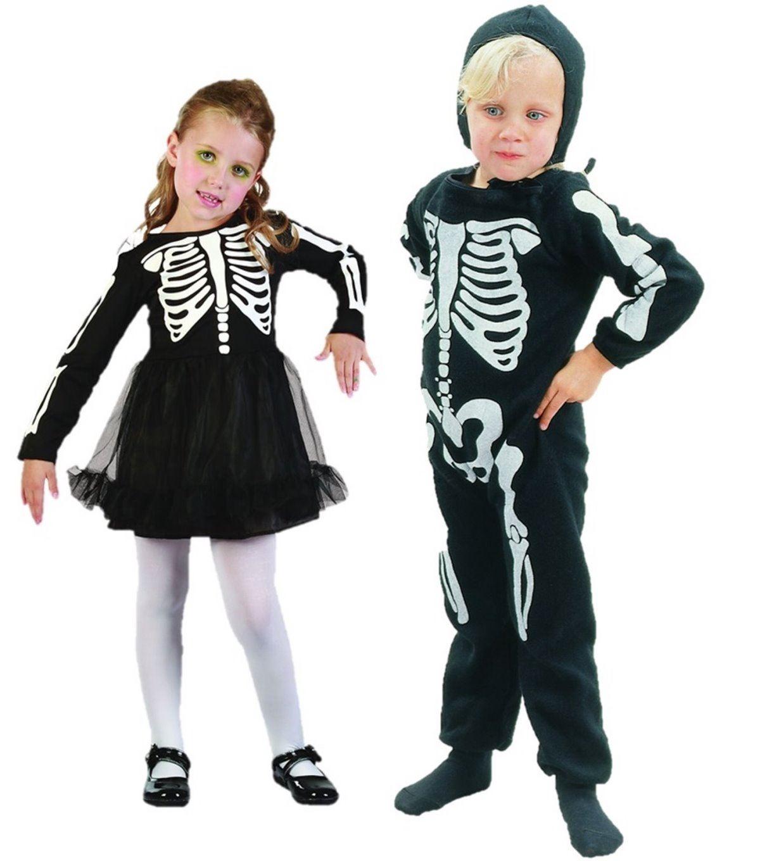boys girls toddler halloween costume skeleton fancy dress bones age