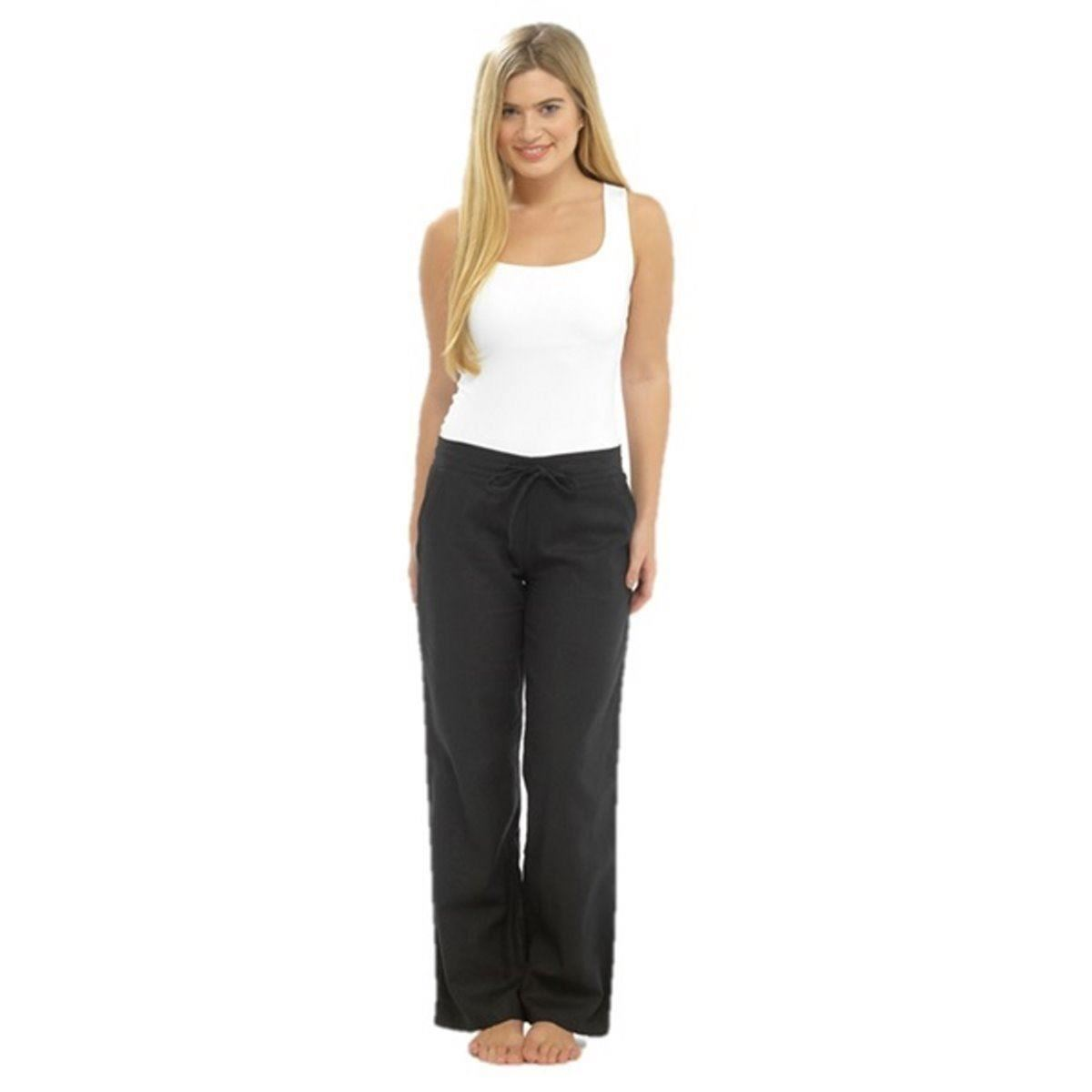 Womens Linen Trousers Pants Casual Relaxed Fit Bright Size