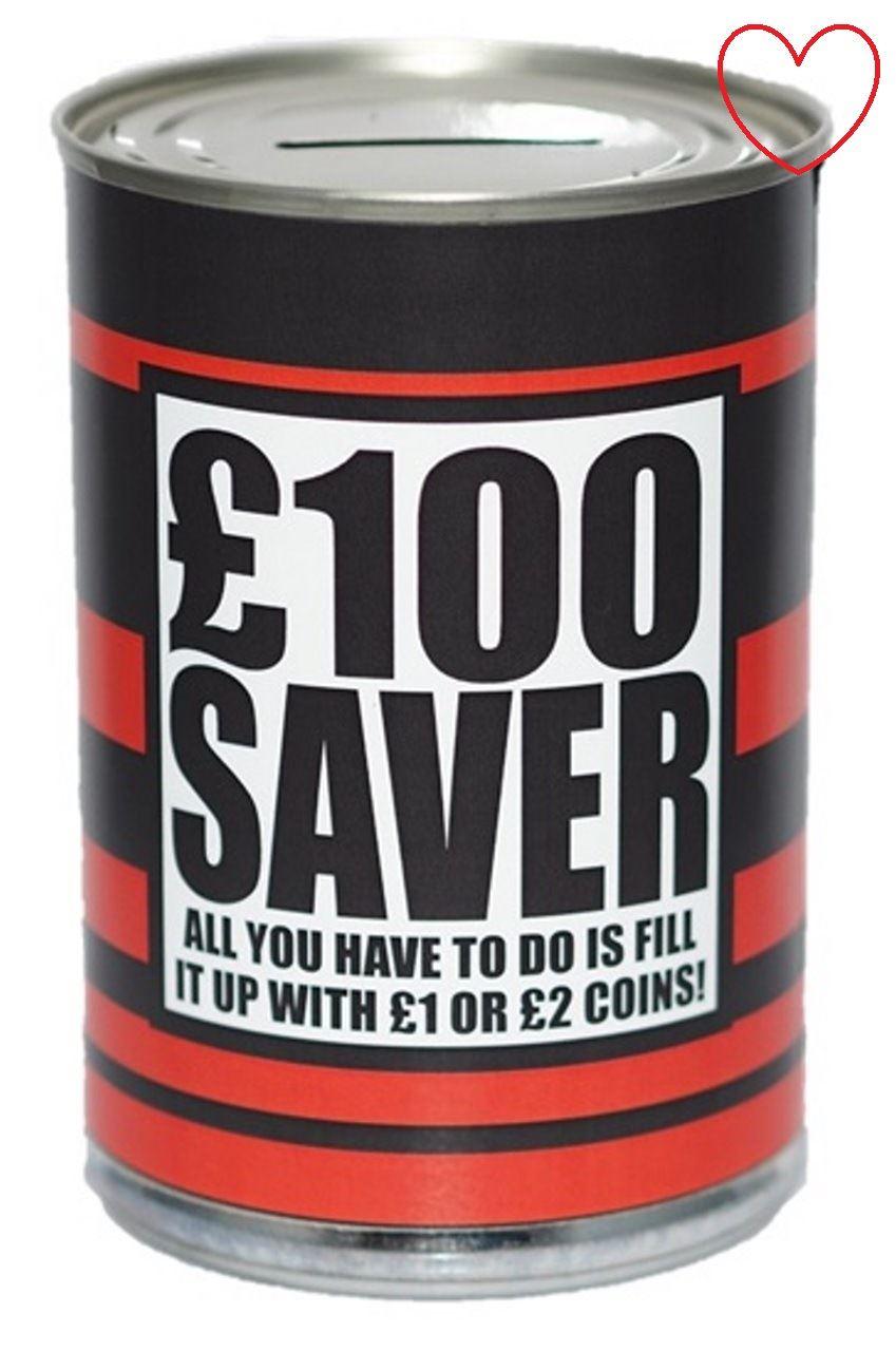 Small novelty money can tin piggy bank box jar saving cash for How to open a tin piggy bank