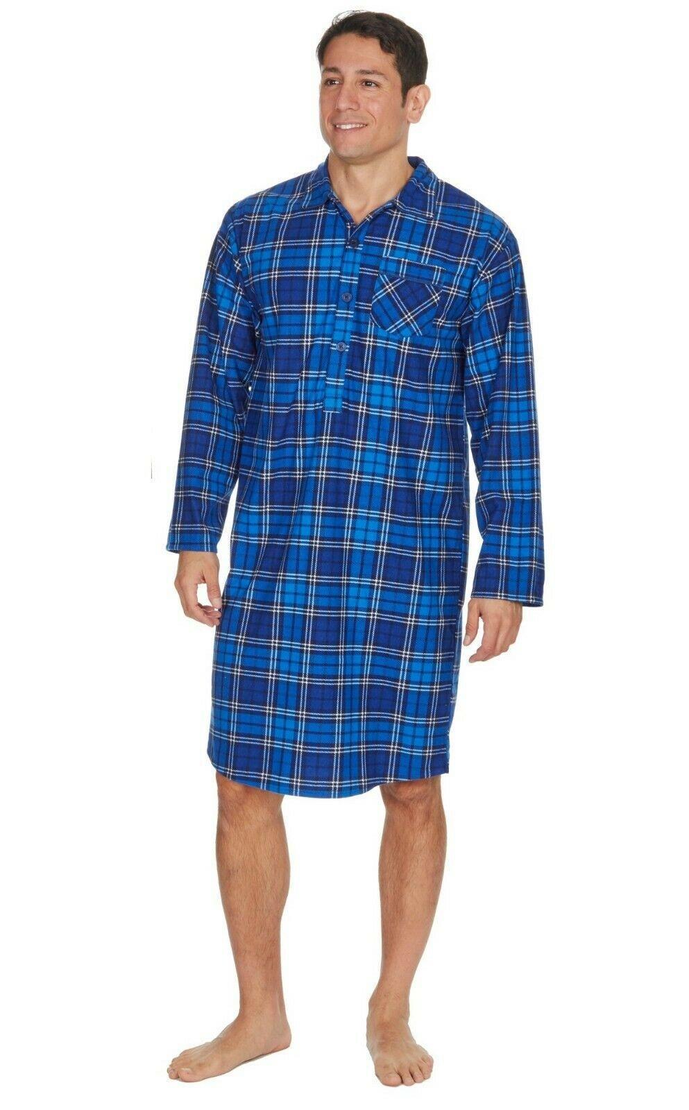 Mens Gents Warm Soft Thermal Flannel Blue Check Nightshirt Pyjama Nightie