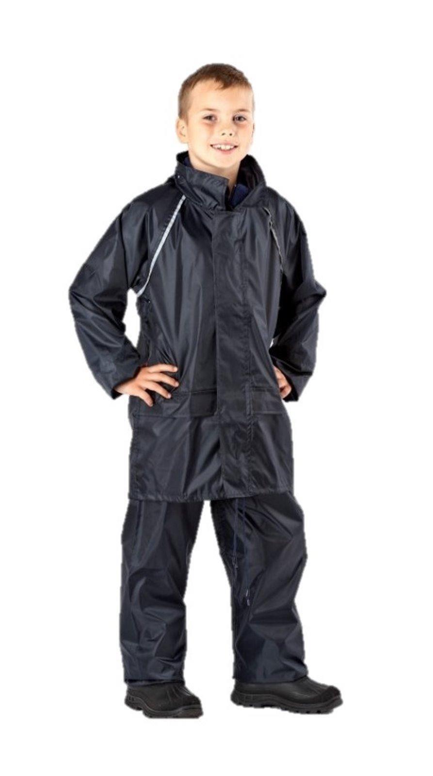 Boys Childrens Navy Camo Waterproof Rain Suit Coat Trousers Pants