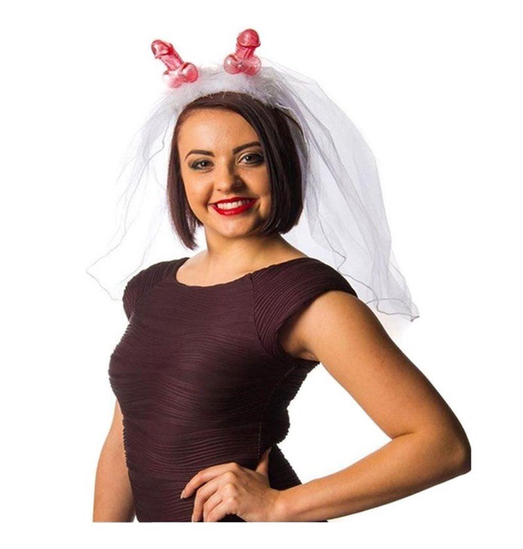 Hen Night sposa velo sulla fascia da donna abito da sposa Fancy Dress Party Costume